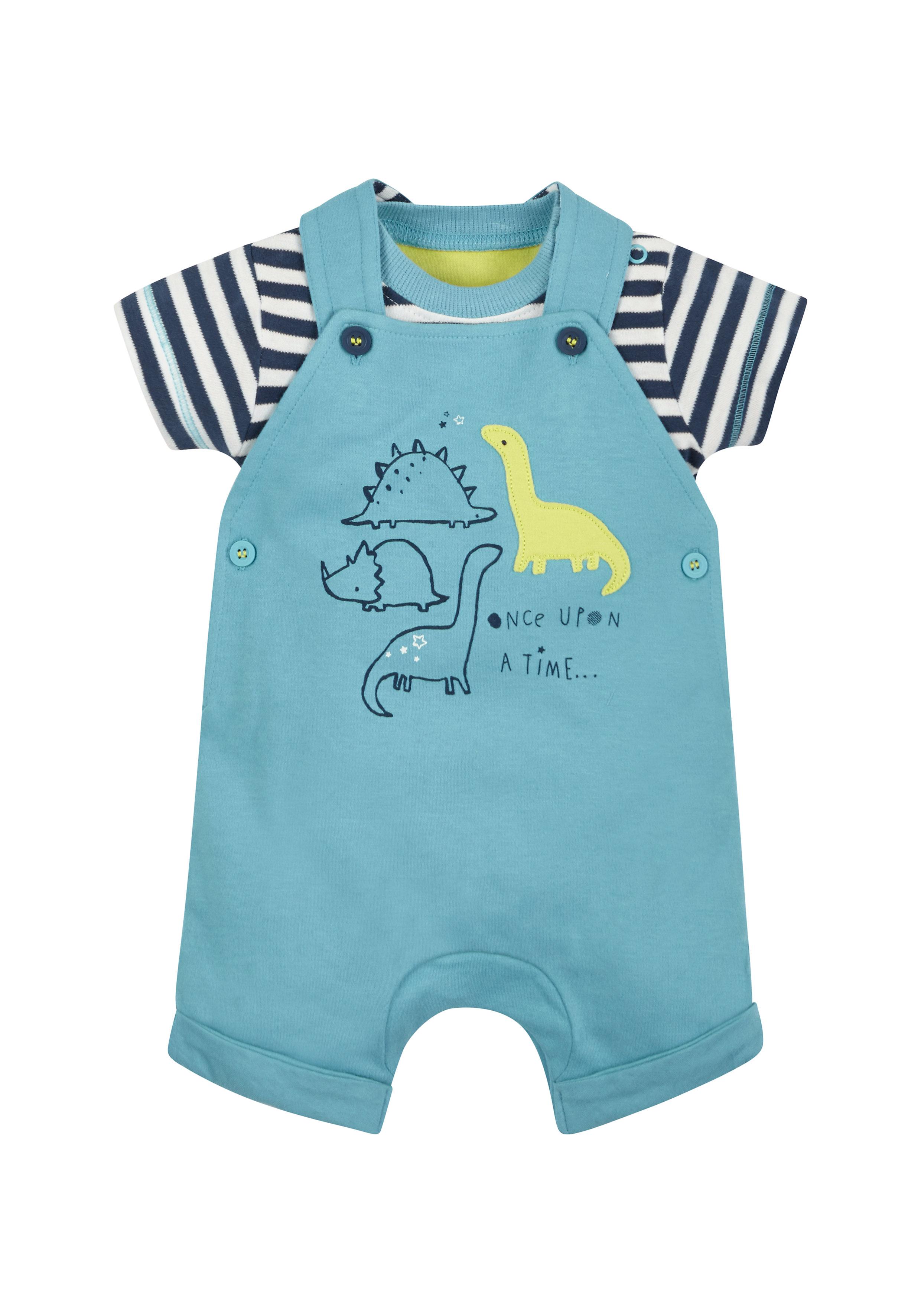 Mothercare | Boys Dinosaur Dungarees And Bodysuit Set - Turq
