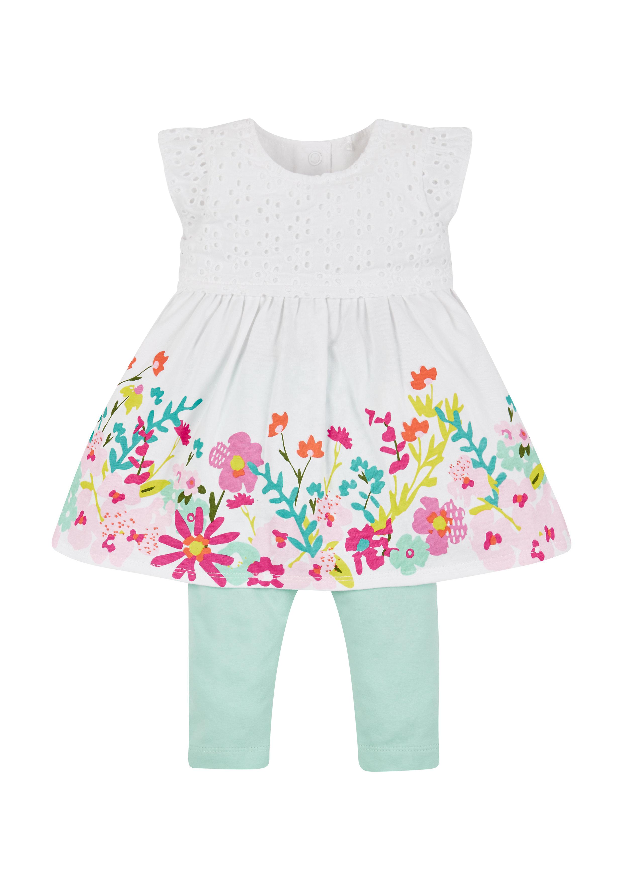 Mothercare | Girls Border Print Dress And Leggings Set