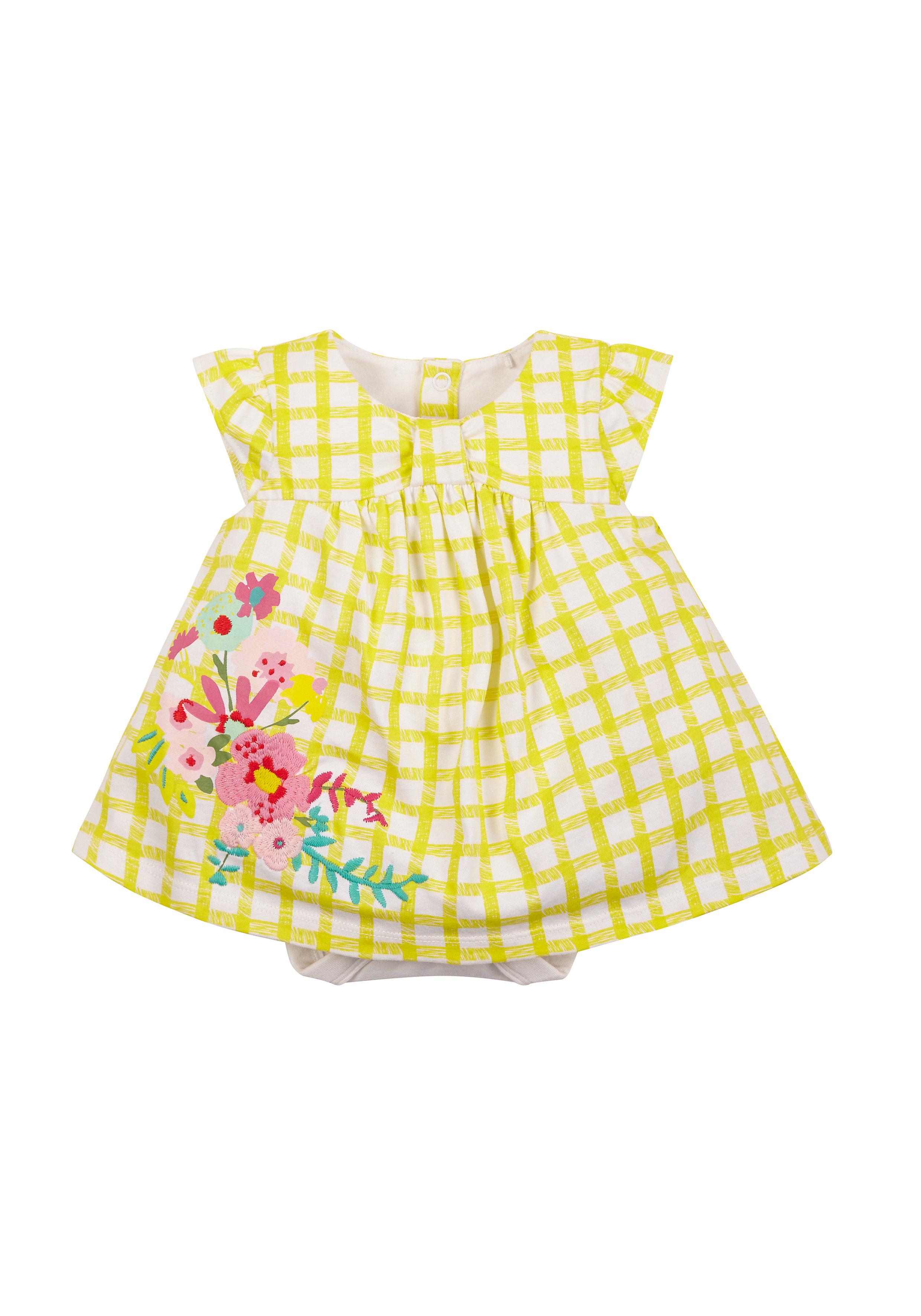 Mothercare | Girls Gingham Floral Romper Dress