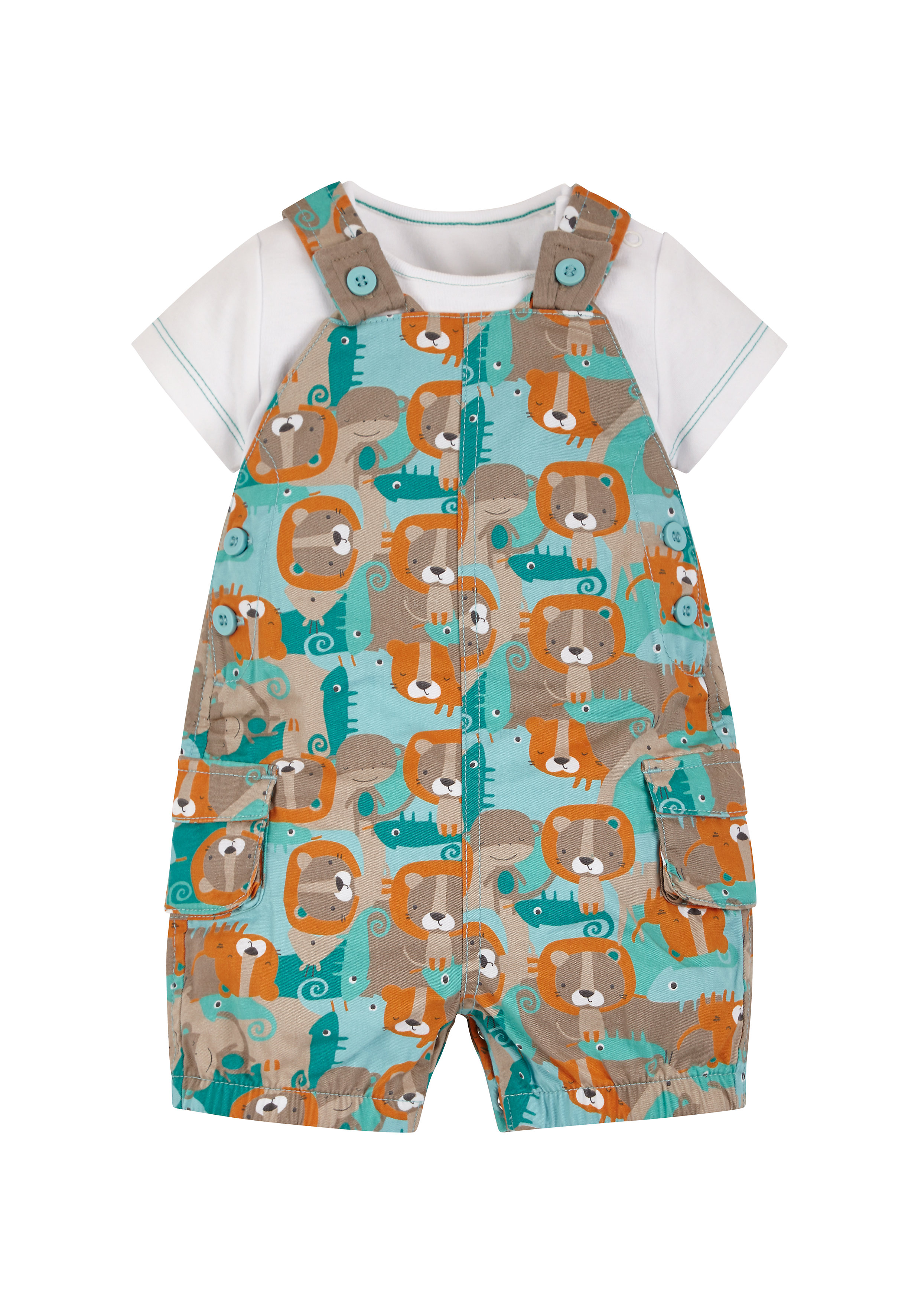 Mothercare   Boys Bodysuit And Printed Dungaree Set