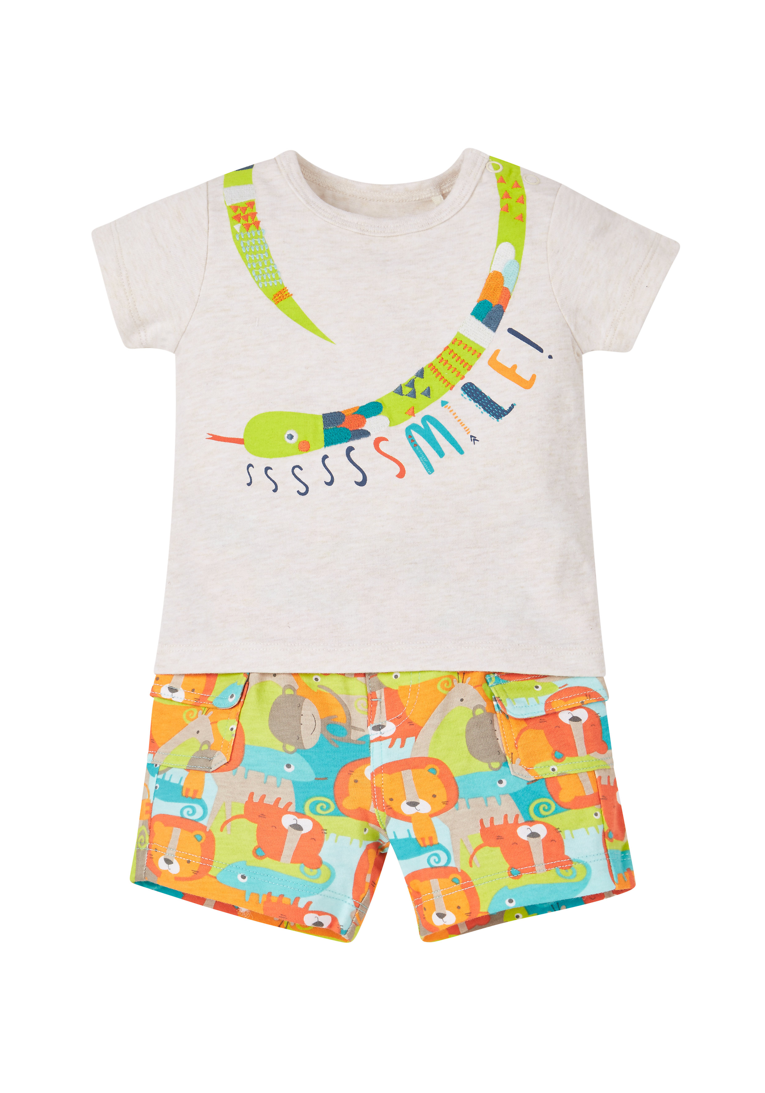 Mothercare | Boys Jungle Pals Snake T-Shirt And Shorts Set - Multicolor