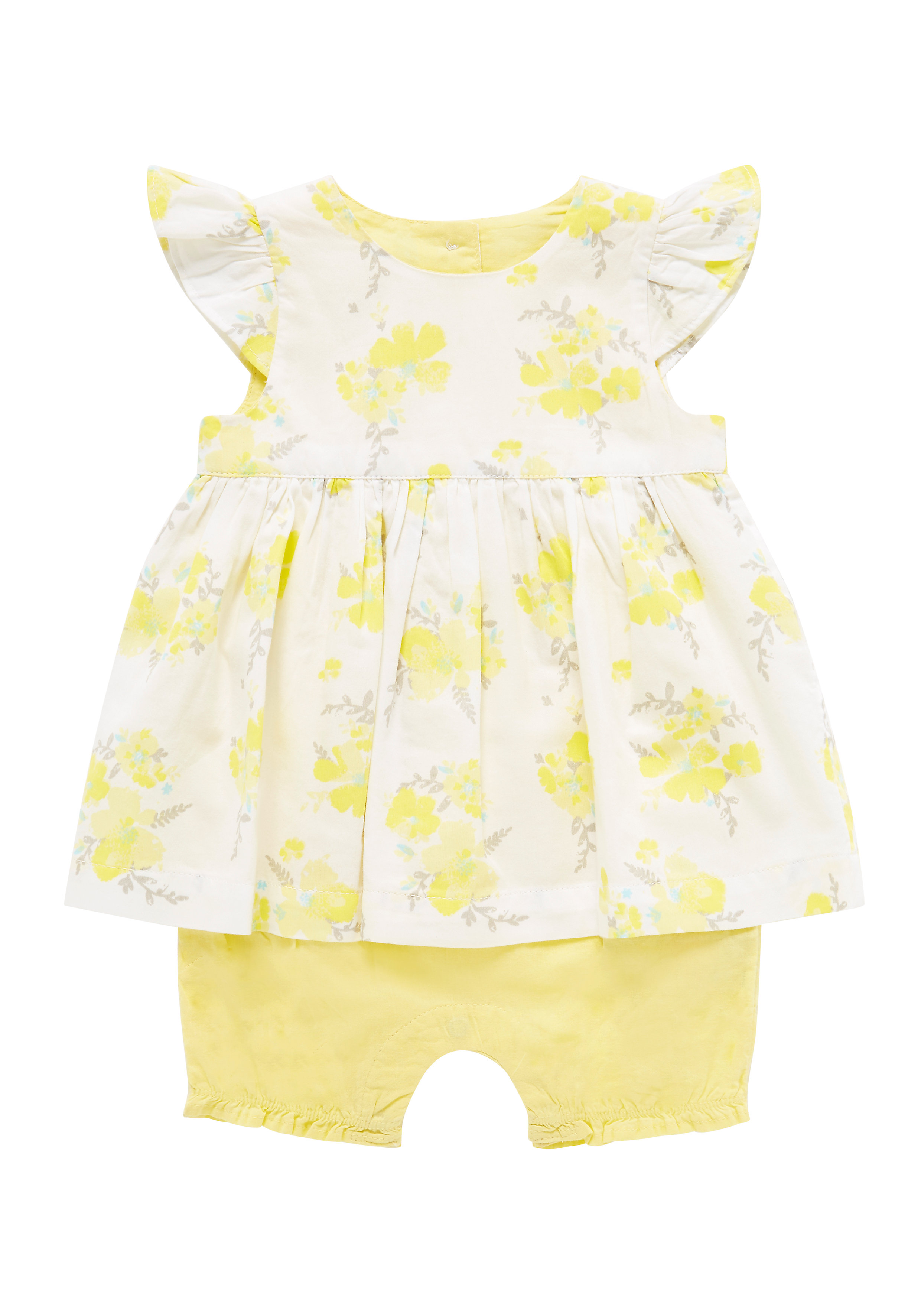 Mothercare | Girls Floral Romper - Yellow