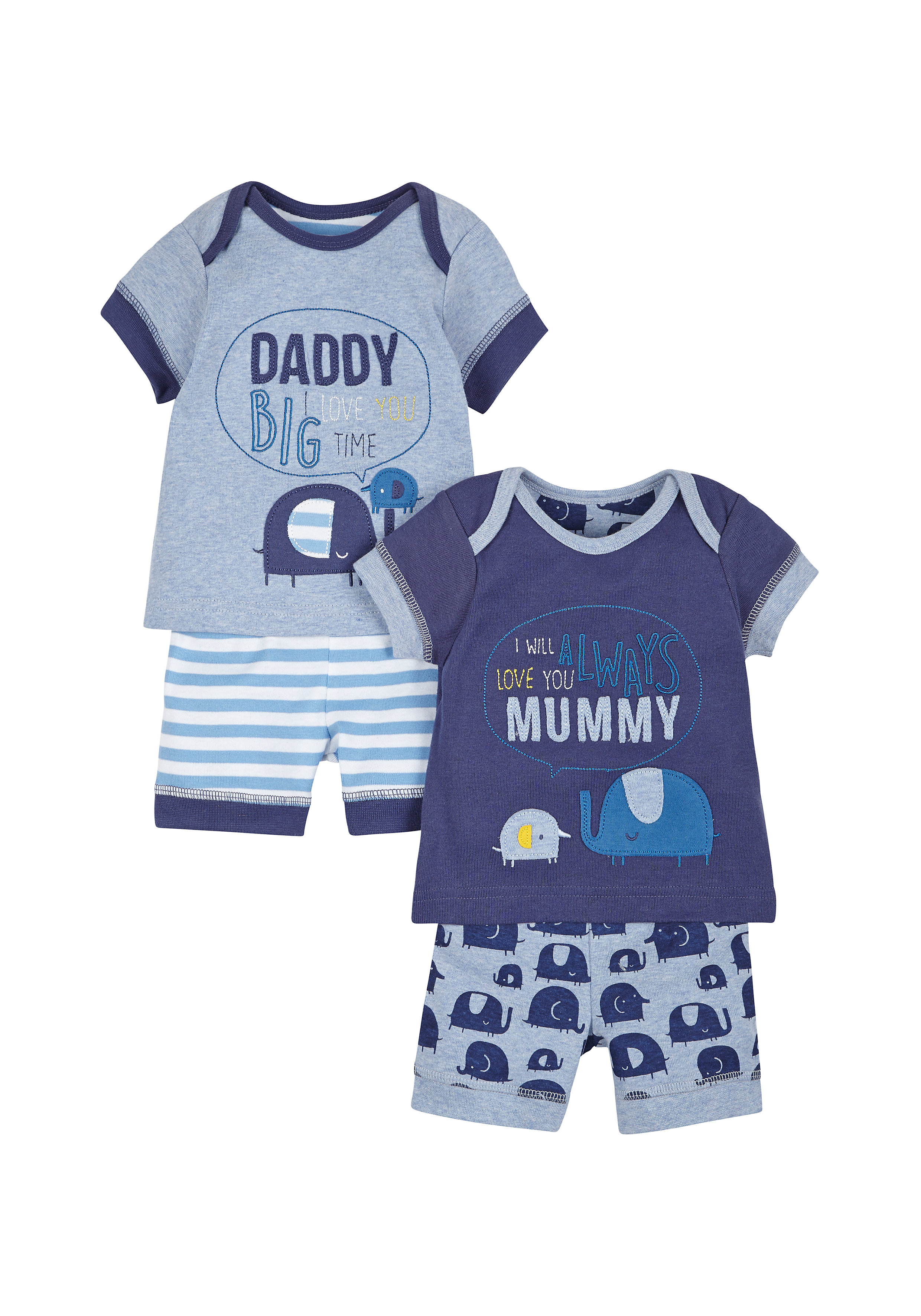 Mothercare   Boys Half Sleeves Text Print Shortie Pyjamas - Pack Of 2 - Blue