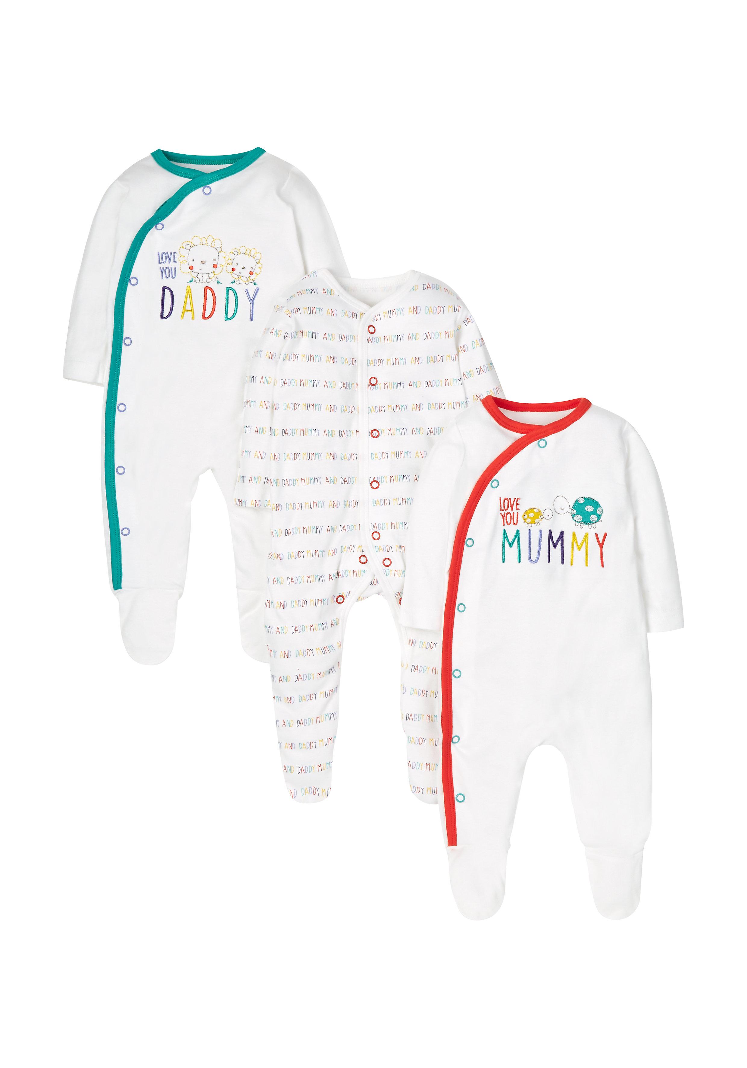 Mothercare | Unisex Full Sleeves Text Print Sleepsuit - Pack Of 3 - White