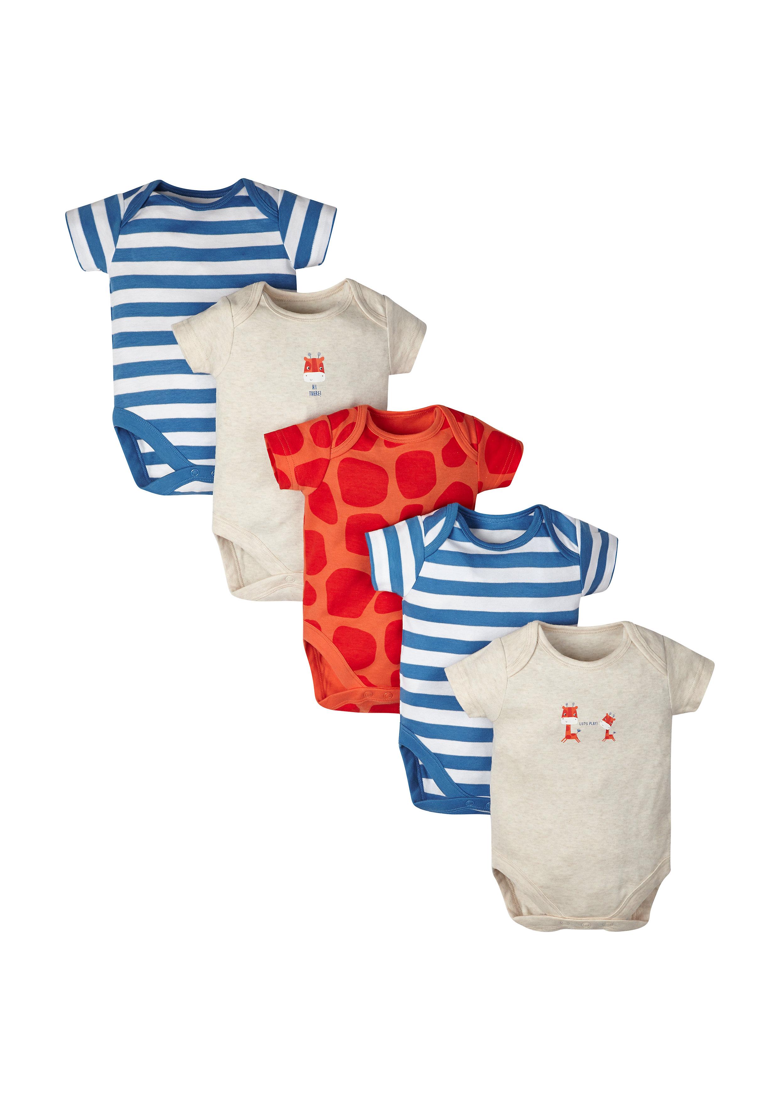 Mothercare   Boys Giraffe Bodysuits - Pack Of 5 - Multicolor