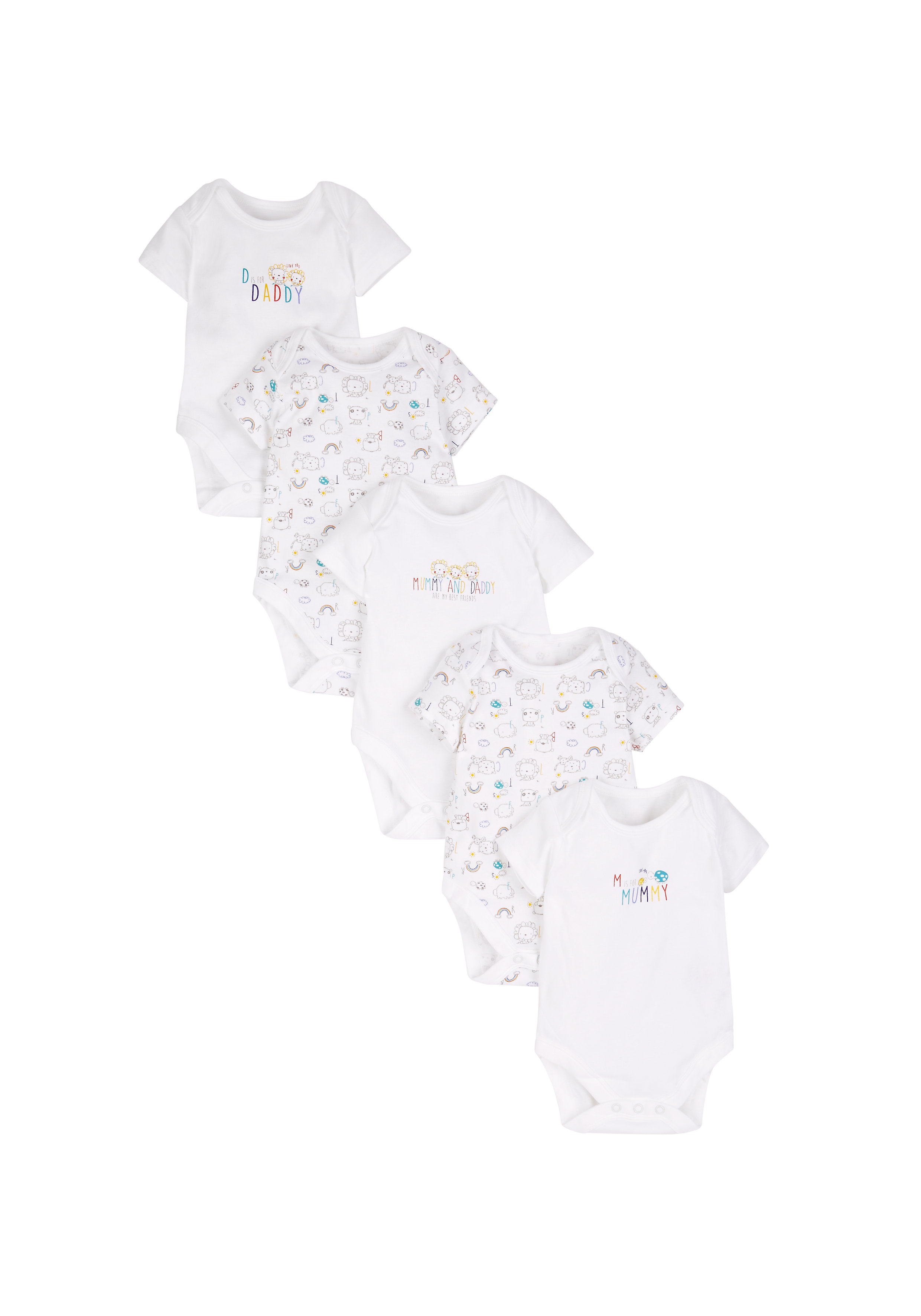 Mothercare | Unisex Mummy And Daddy Bodysuits - Pack Of 5 - White