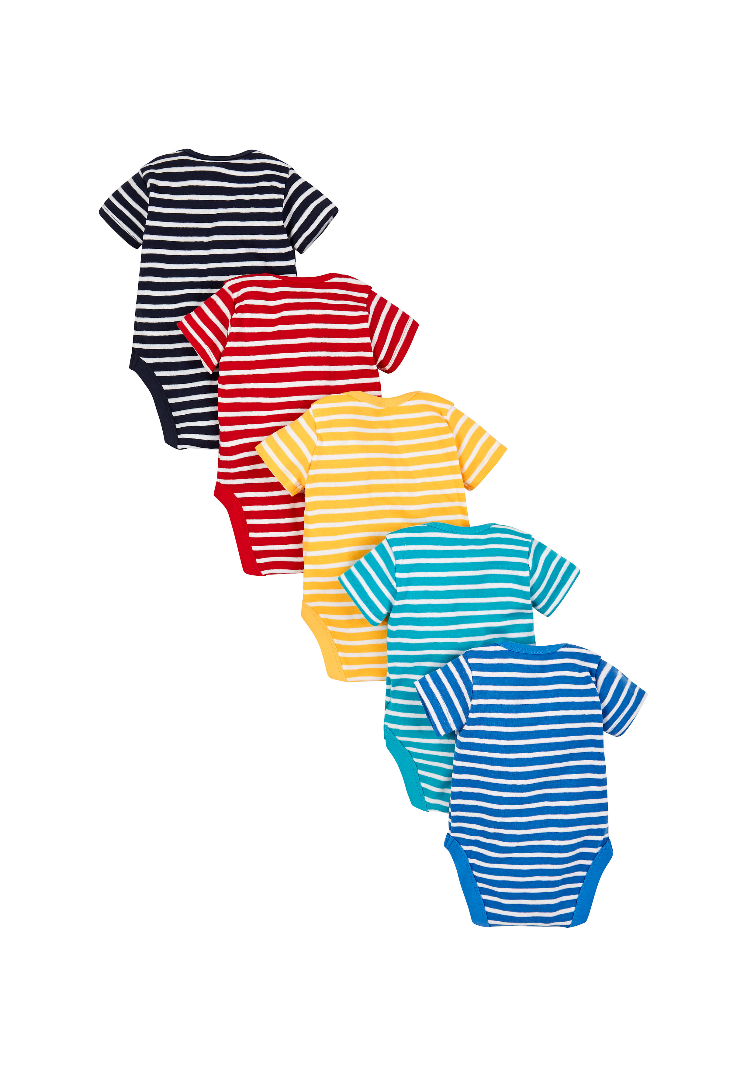 Mothercare   Boys Striped Bodysuits - Pack Of 5 - Multicolor