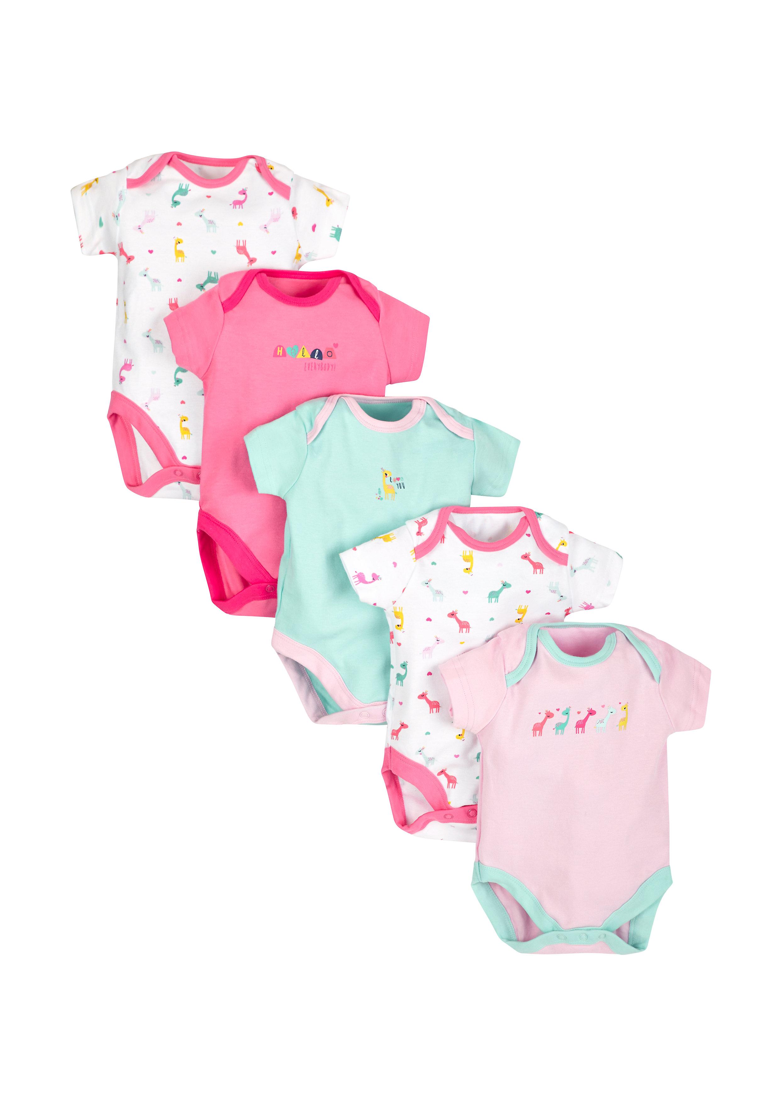Mothercare | Girls Giraffe Bodysuits - Pack Of 5 - Multicolor