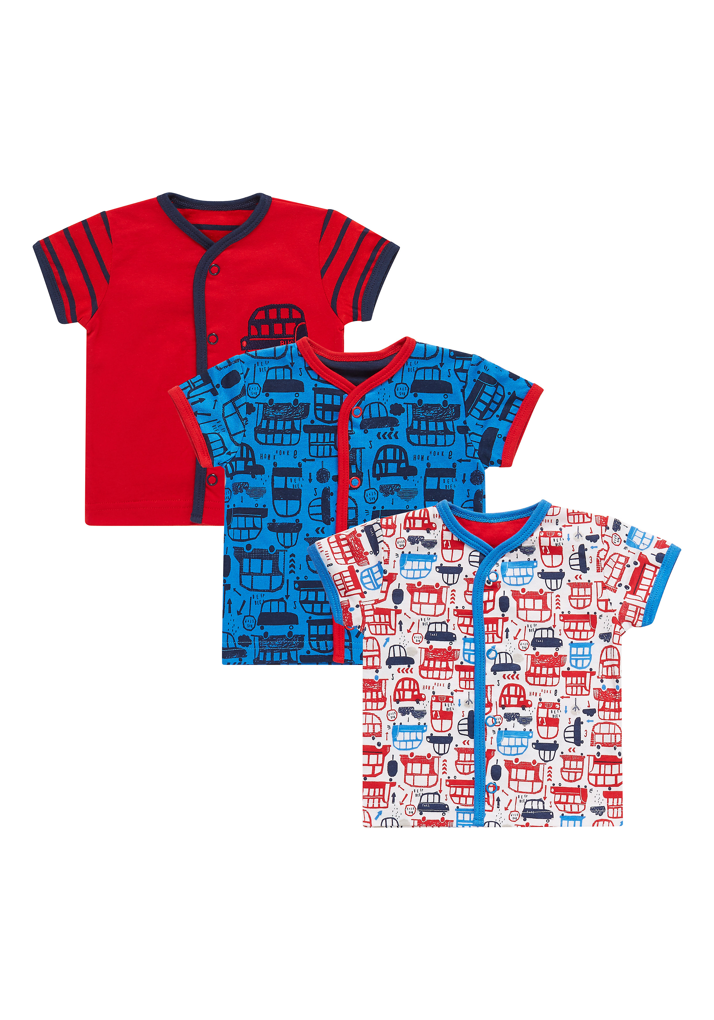 Mothercare | Boys Half Sleeves Bus Print Tops - Pack Of 3 - Multicolor