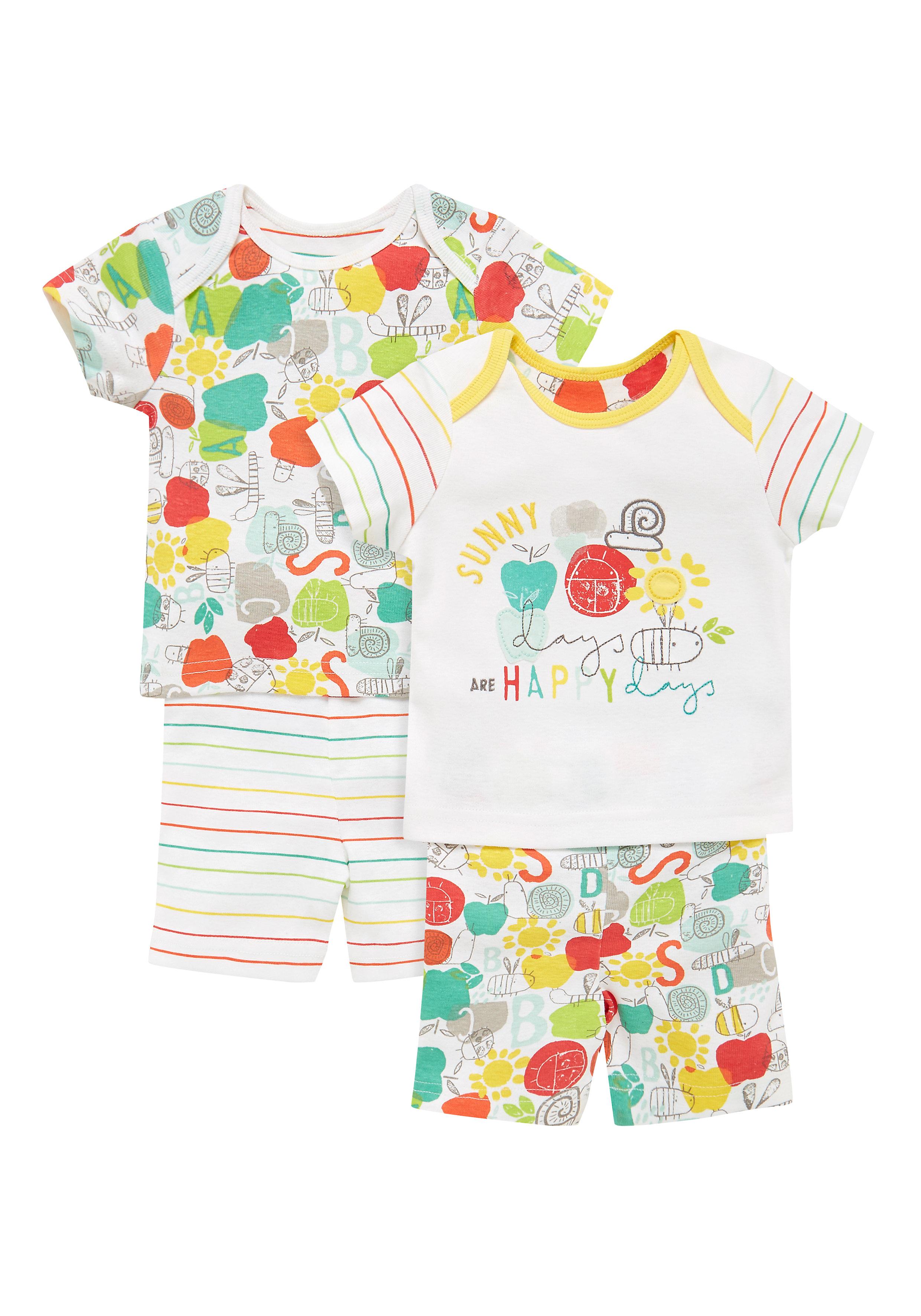 Mothercare   Unisex Happy Bug Pyjamas - Pack Of 2 - Multicolor