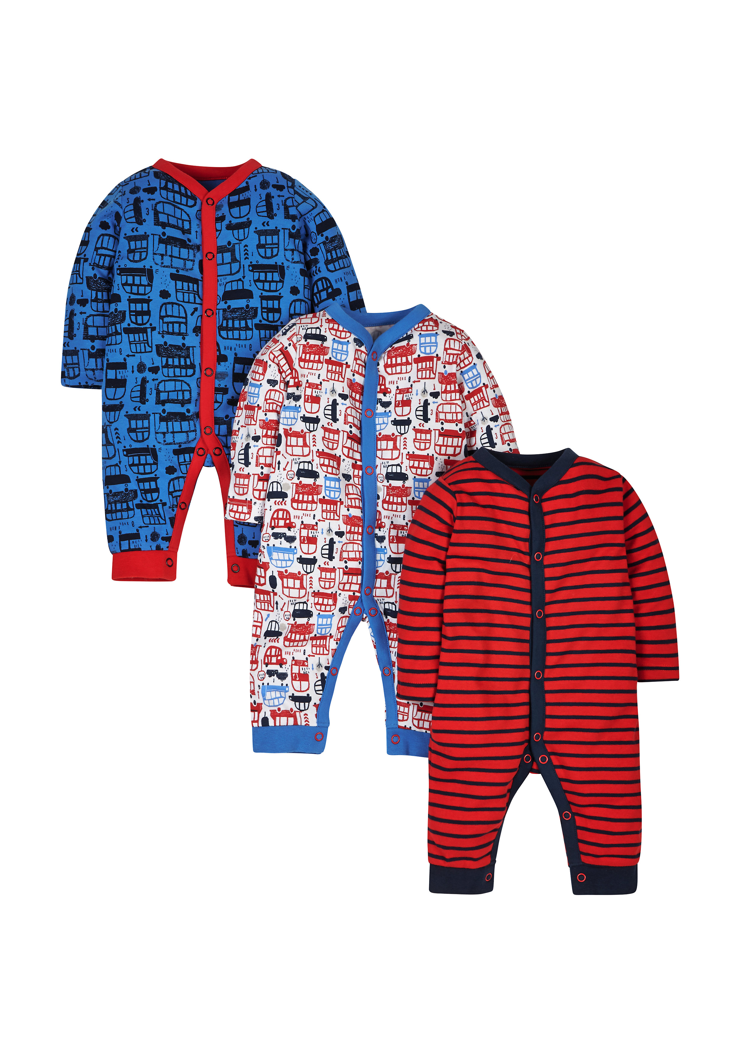 Mothercare | Boys Big Bus Sleepsuits - Pack Of 3