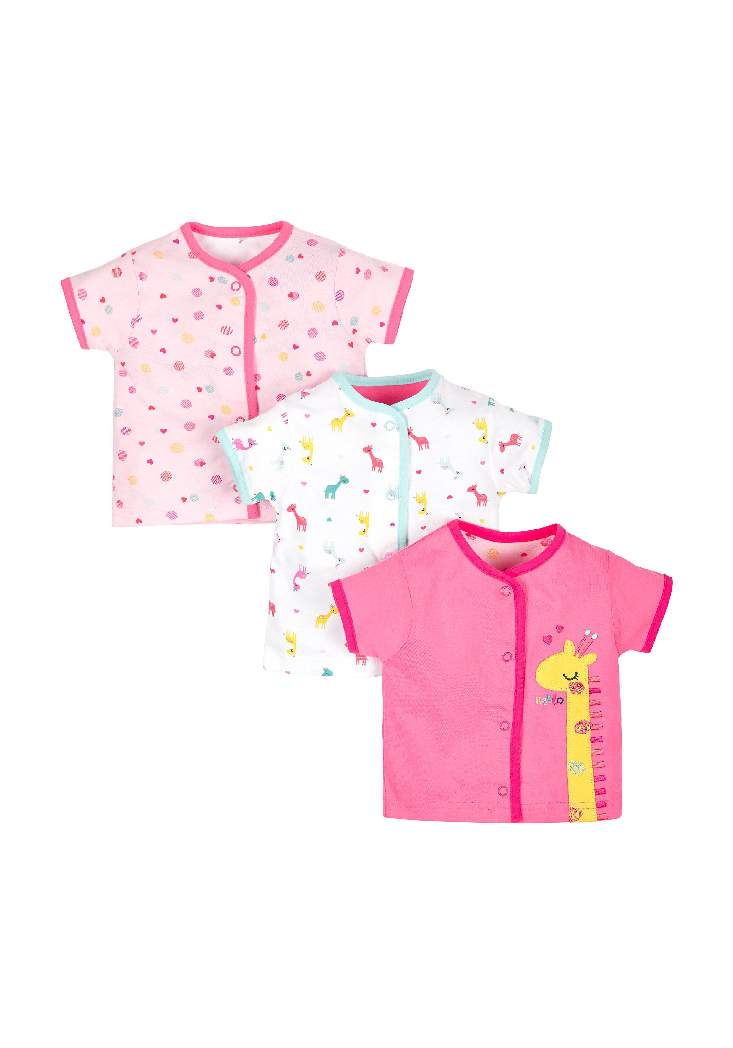 Mothercare | Girls Giraffe Tops - Pack Of 3 - Multicolor
