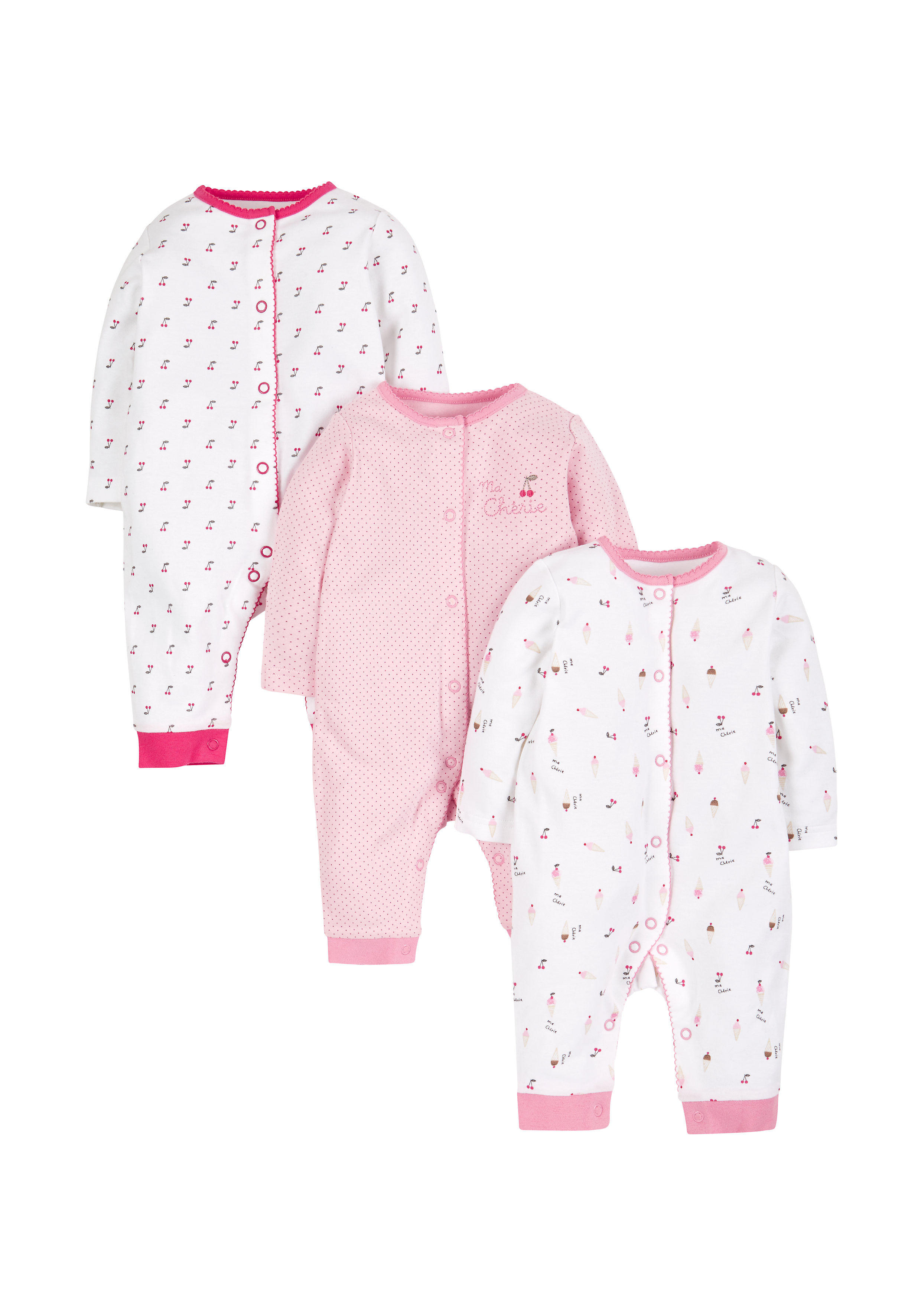 Mothercare   Girls Footless Sleepsuits - Pack Of 3 - Pink