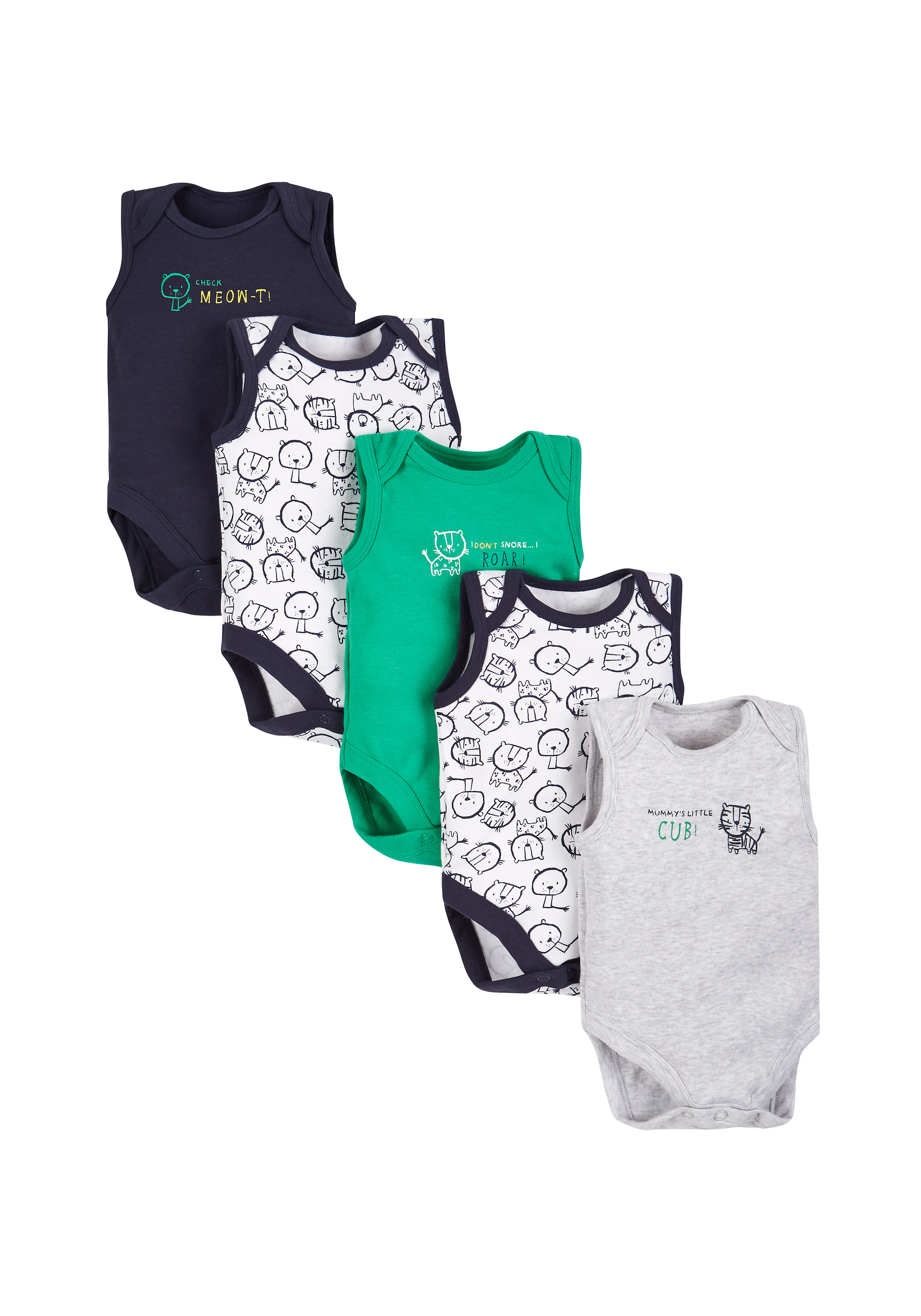 Mothercare | Boys Jungle Bodysuits - Pack Of 5