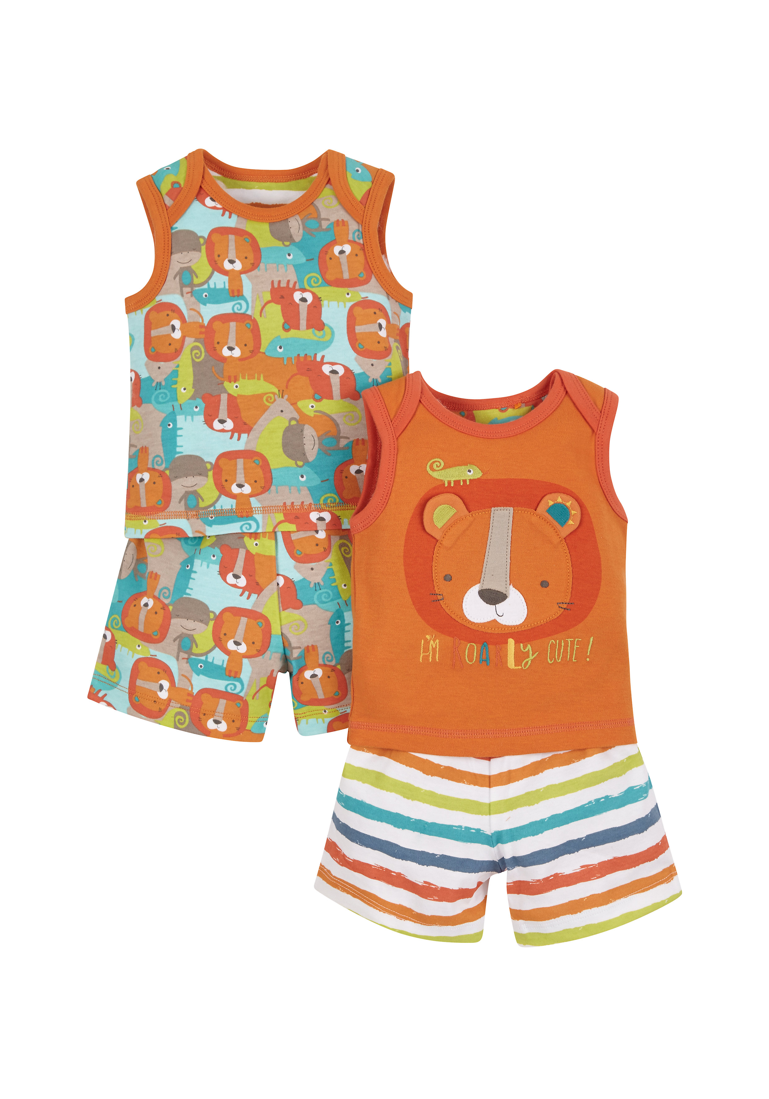 Mothercare   Boys Lion Shortie Pyjamas - Pack Of 2