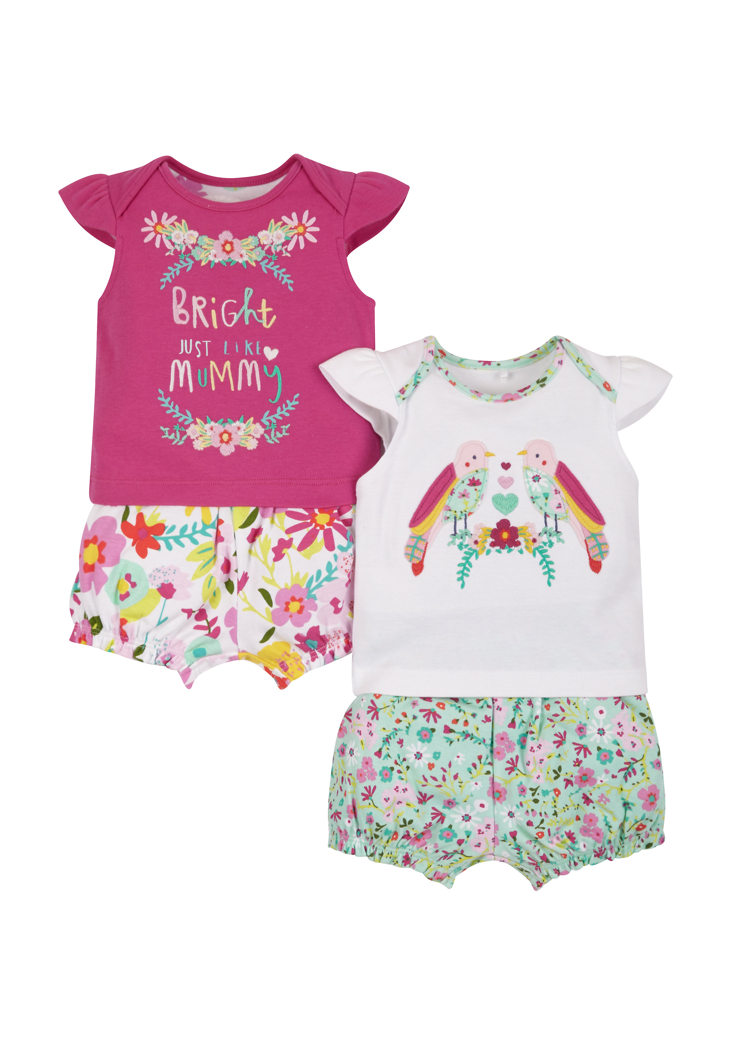 Mothercare | Multicolor Girls Tropical Shortie Pyjamas - Pack Of 2