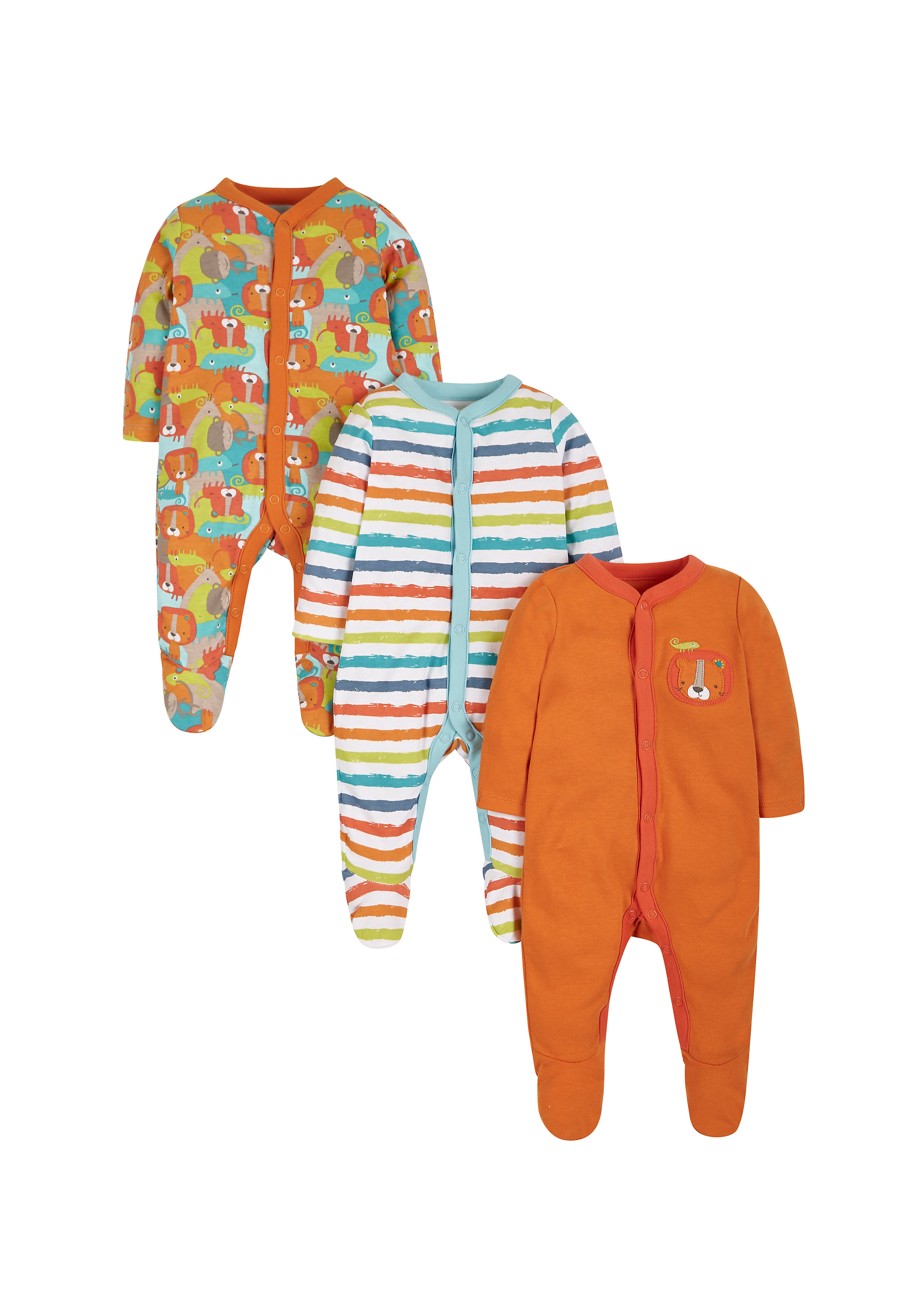 Mothercare | Boys Crazy Safari Sleepsuits - Pack Of 3