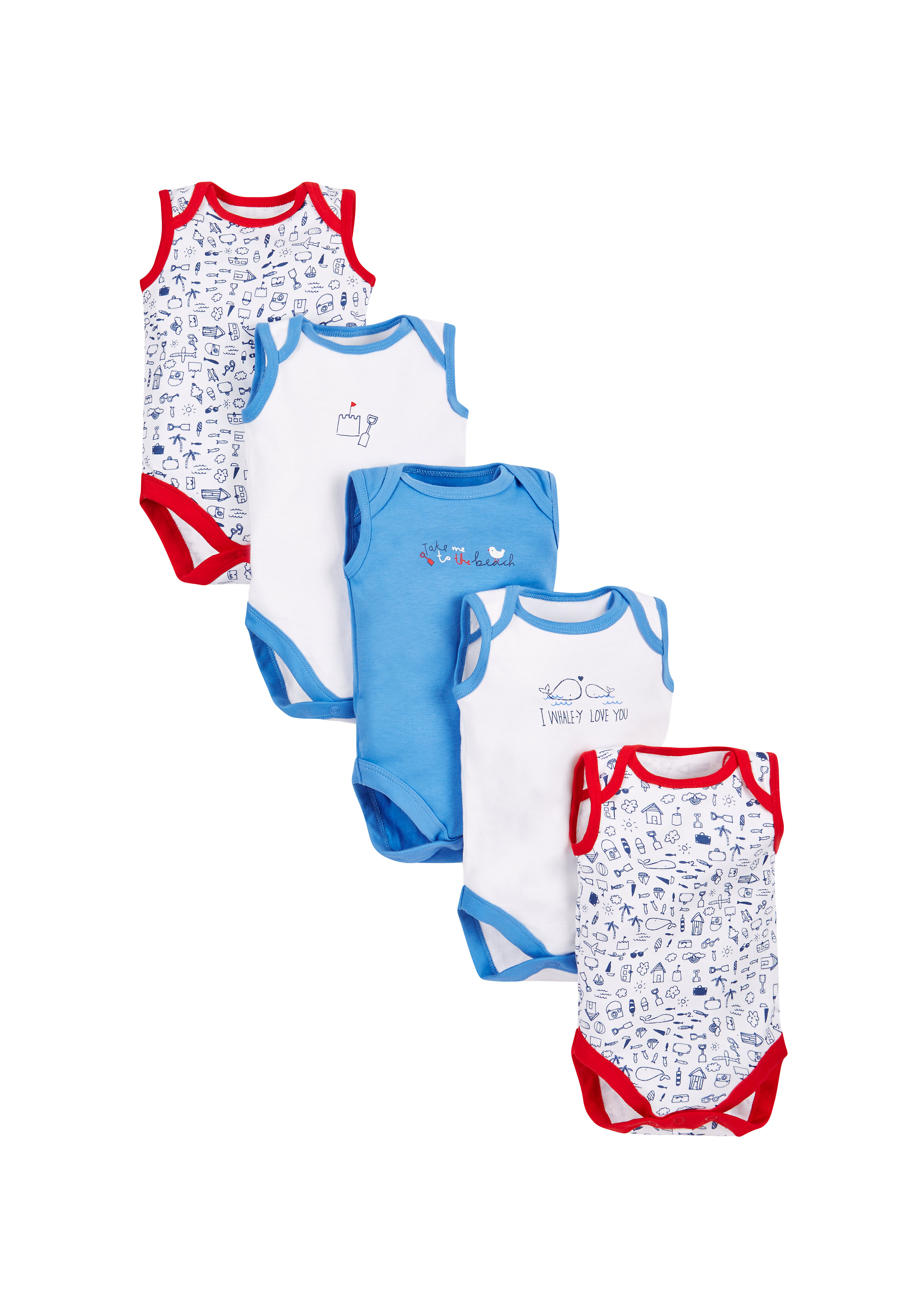 Mothercare | Boys Seaside Bodysuits - Pack Of 5 - Multicolor