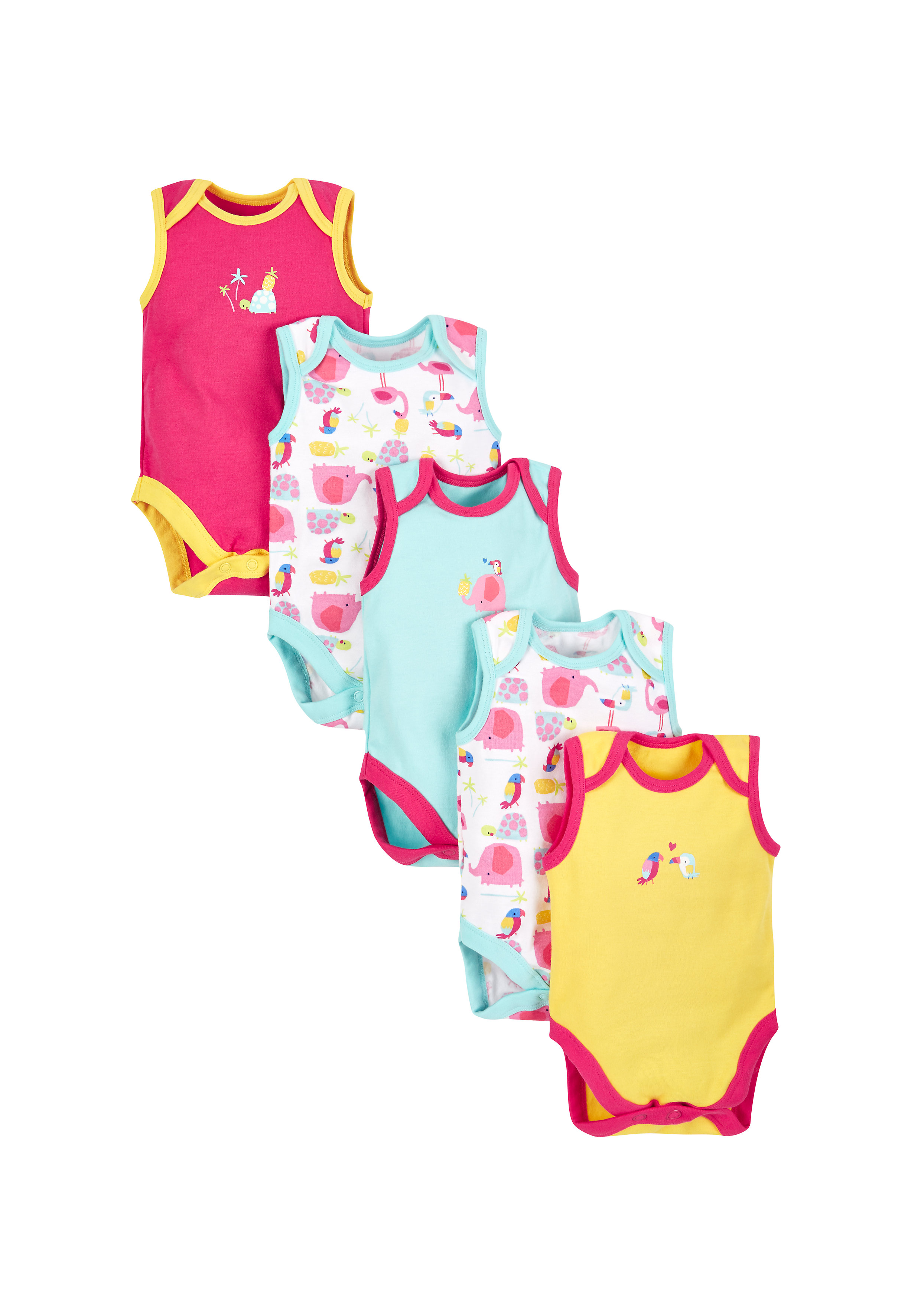 Mothercare | Multicolor Girls Tropical Bodysuits - Pack Of 5