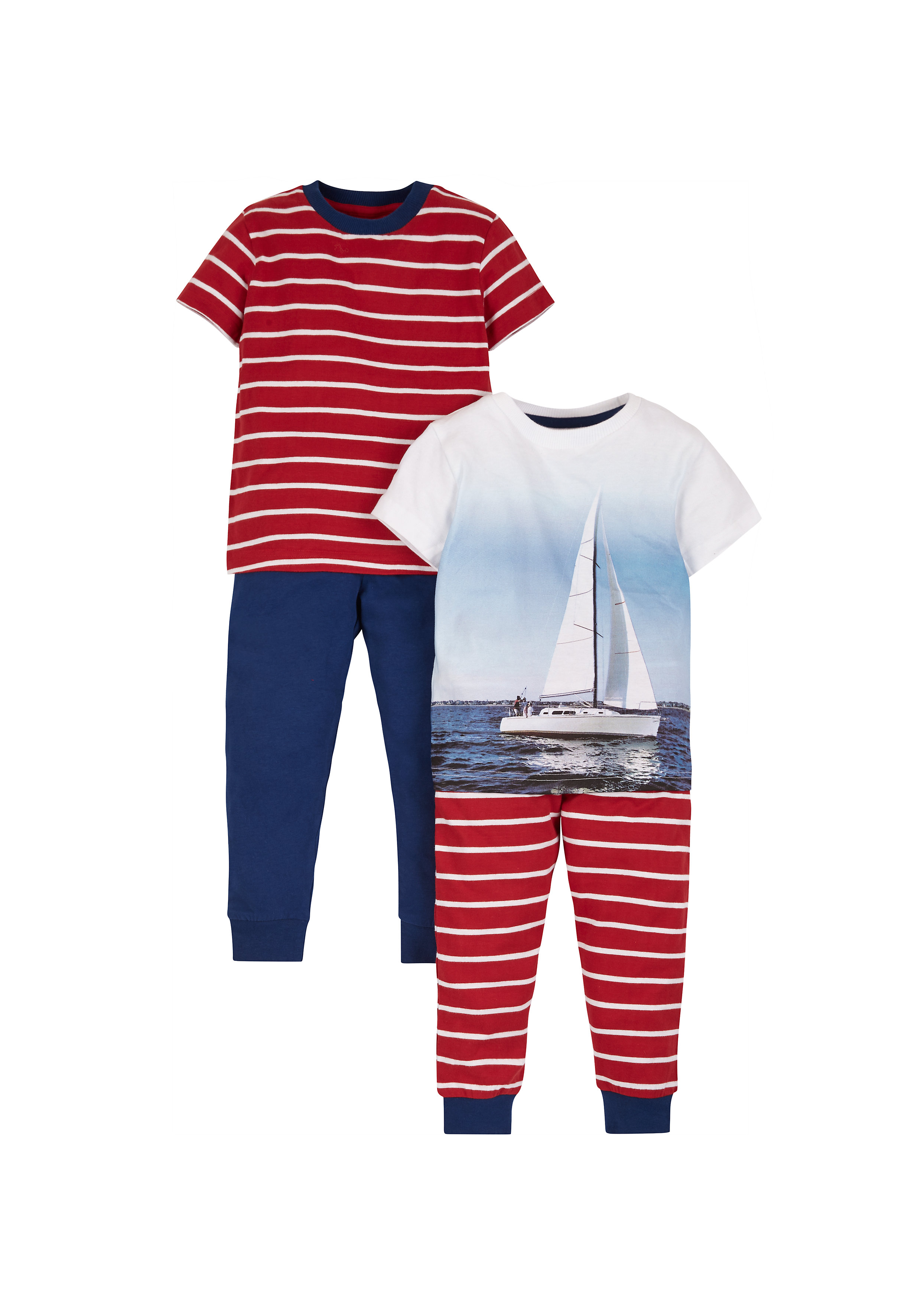 Mothercare   Boys Photographic Boat Pyjamas - Pack Of 2 - Red