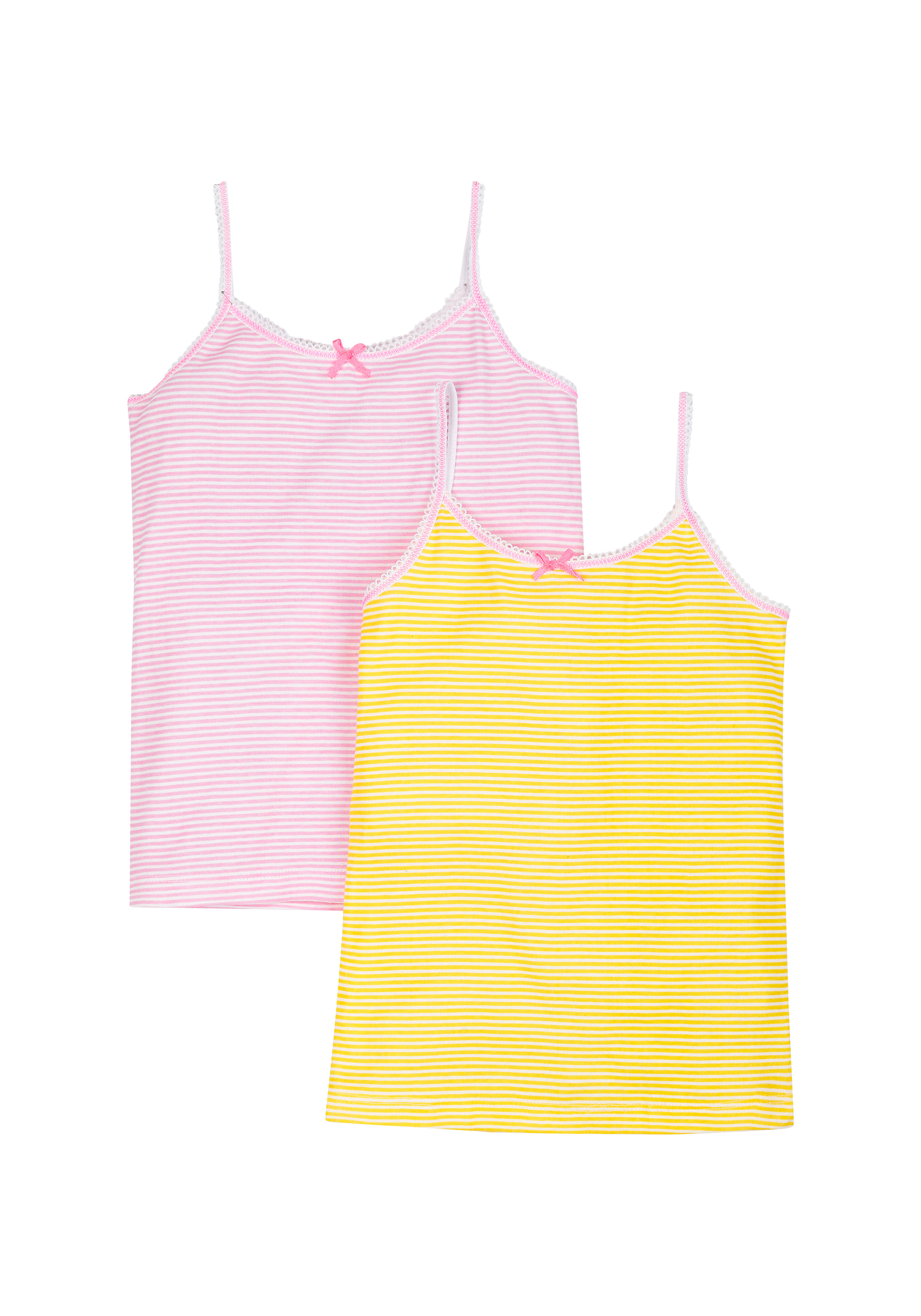 Mothercare | Girls Neon Stripe Cami Vests - Pack Of 2