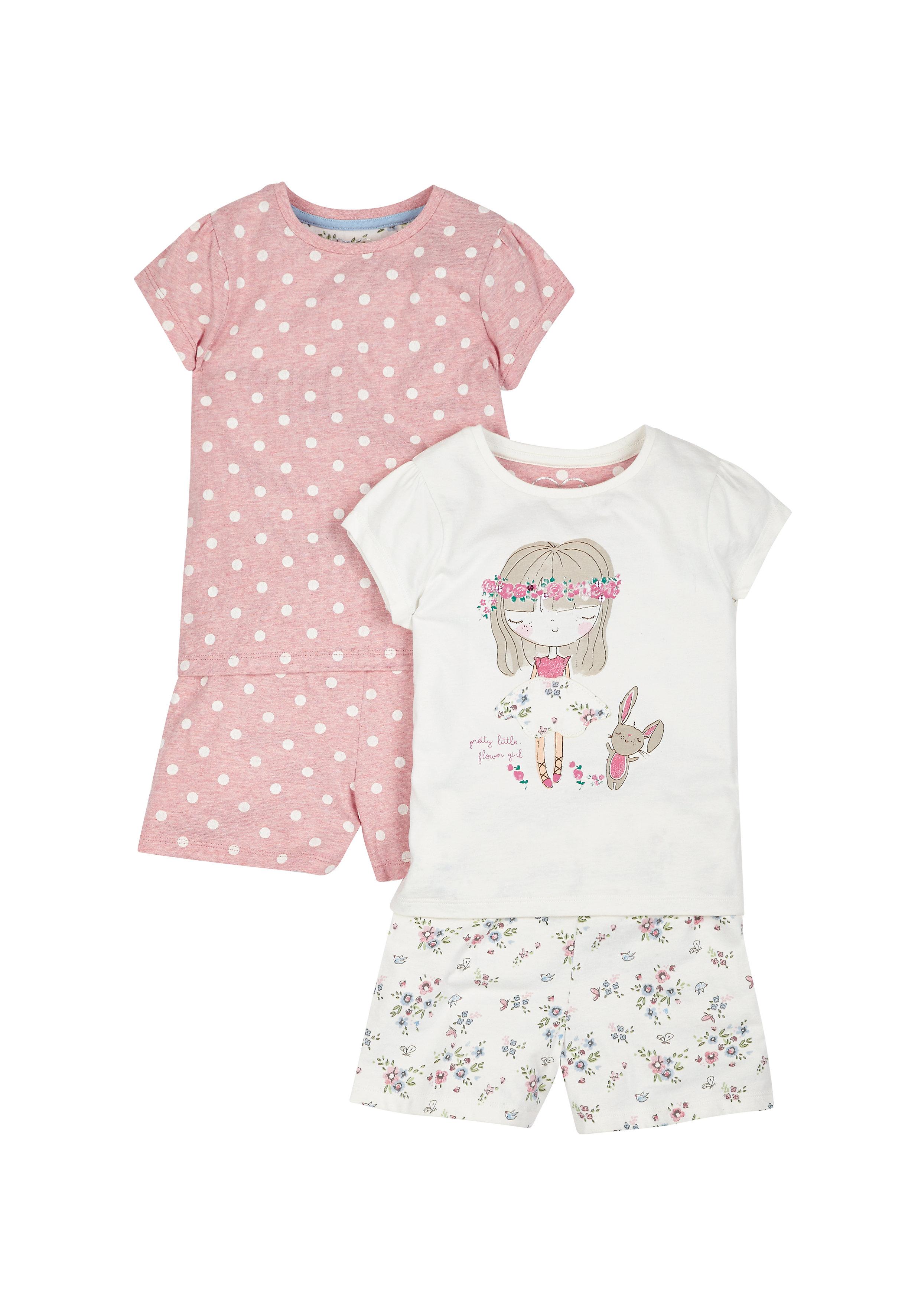 Mothercare | Girls Pretty Little Flower Girl Shortie Pyjamas - Pack Of 2