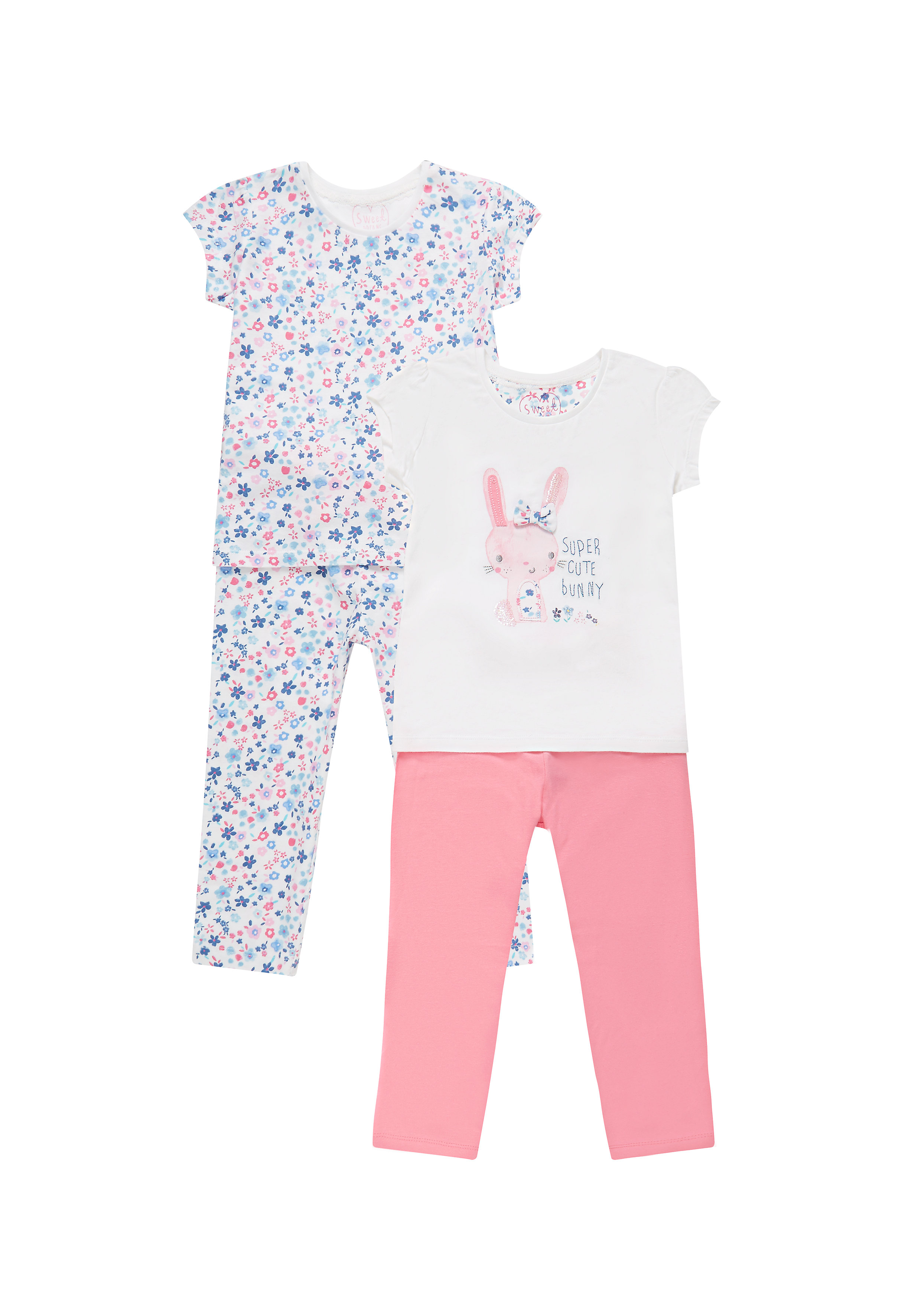 Mothercare | Multicolor Girls Bunny Pyjamas - Pack Of 2