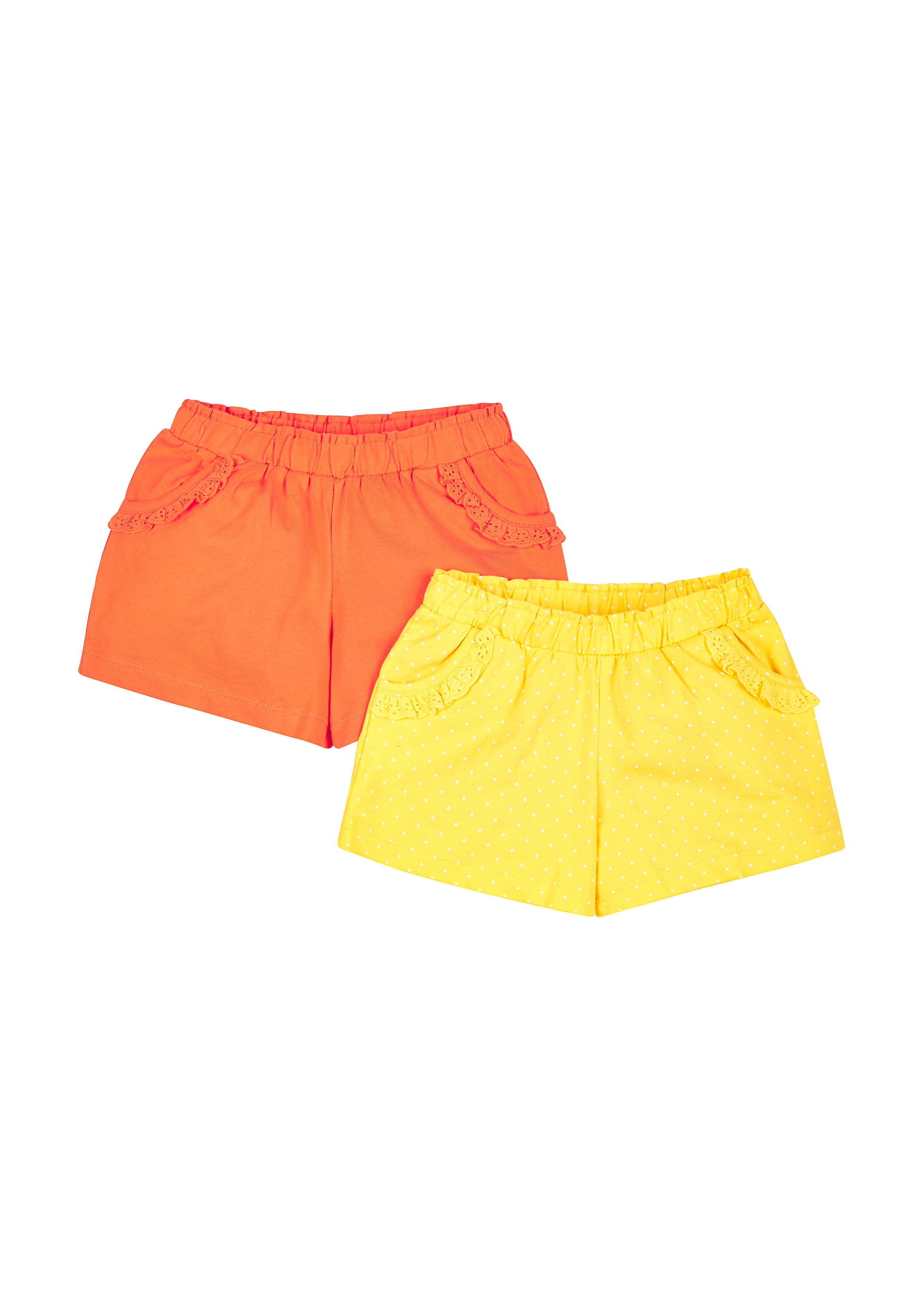 Mothercare | Girls Plain And Spotty Shorts- Pack Of 2