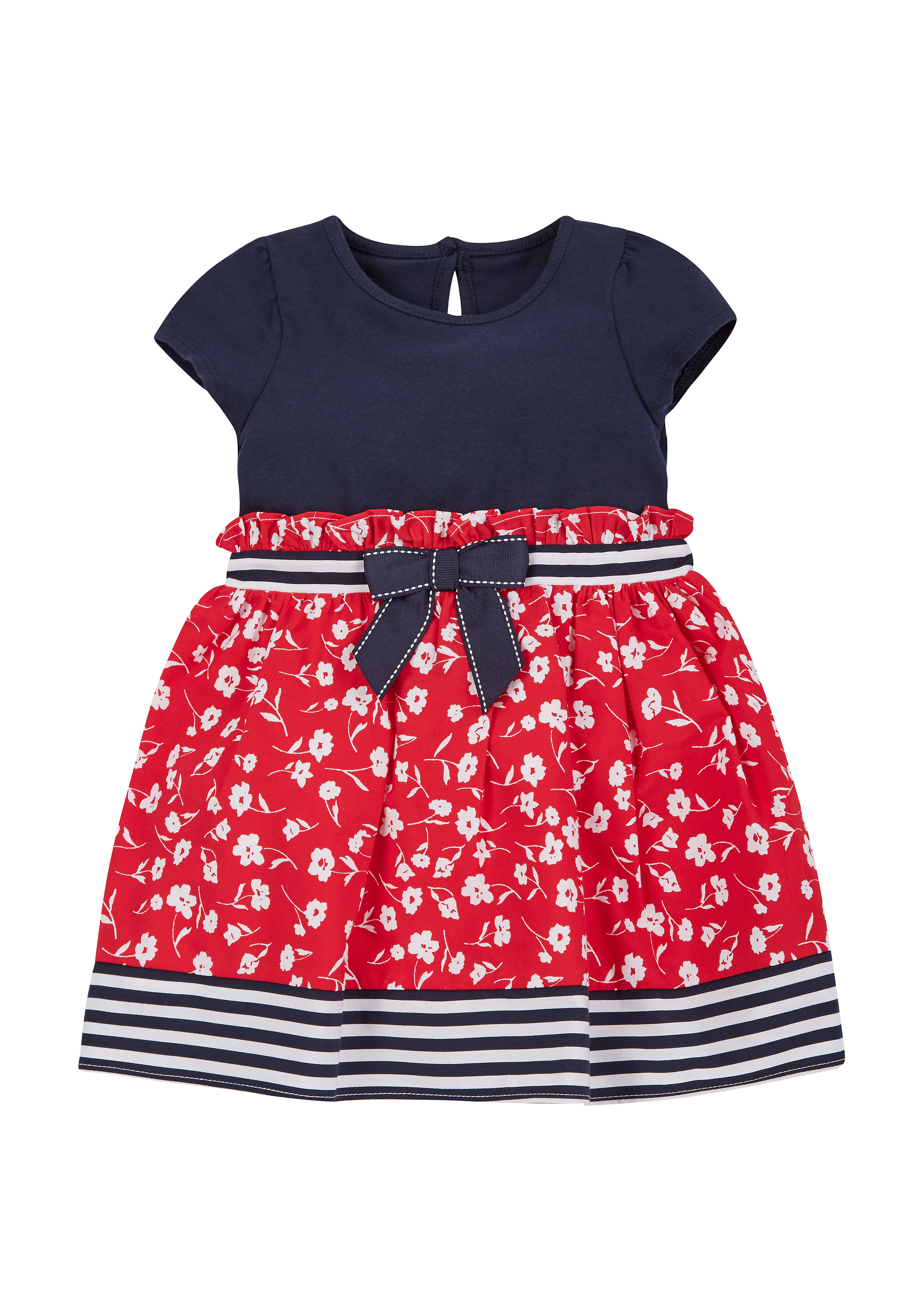 Mothercare | Girls Red Navy Floral Dress