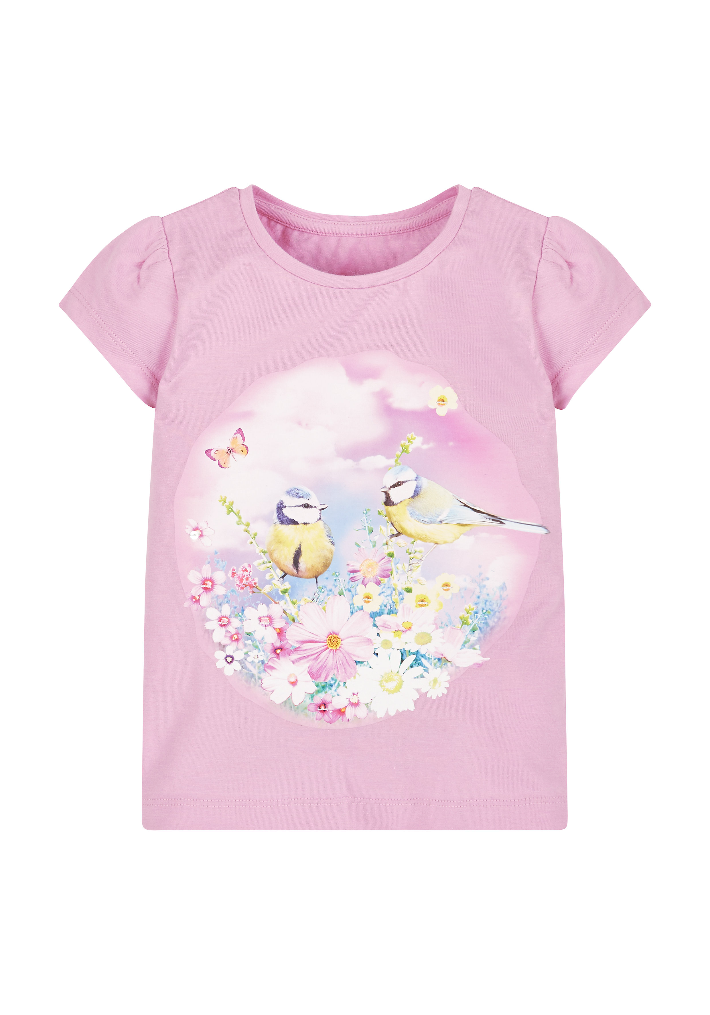 Mothercare | Pink Girls Pink Photographic Bird T-Shirt