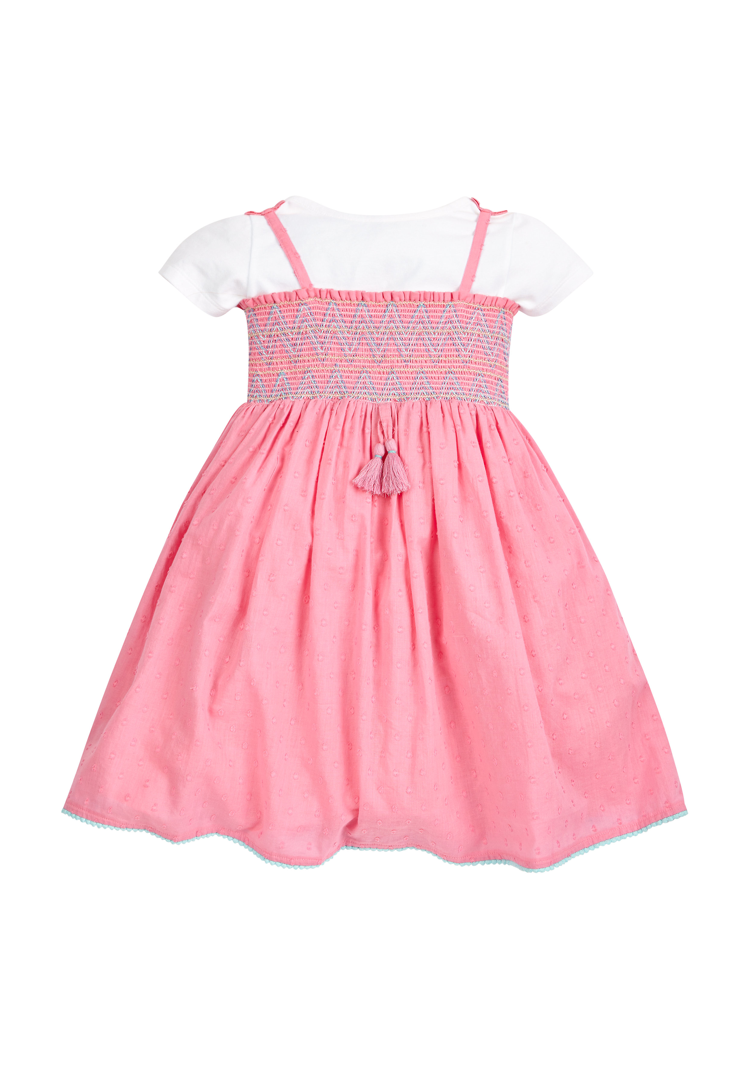 Mothercare   Girls Pink Dobby Dress With T-Shirt