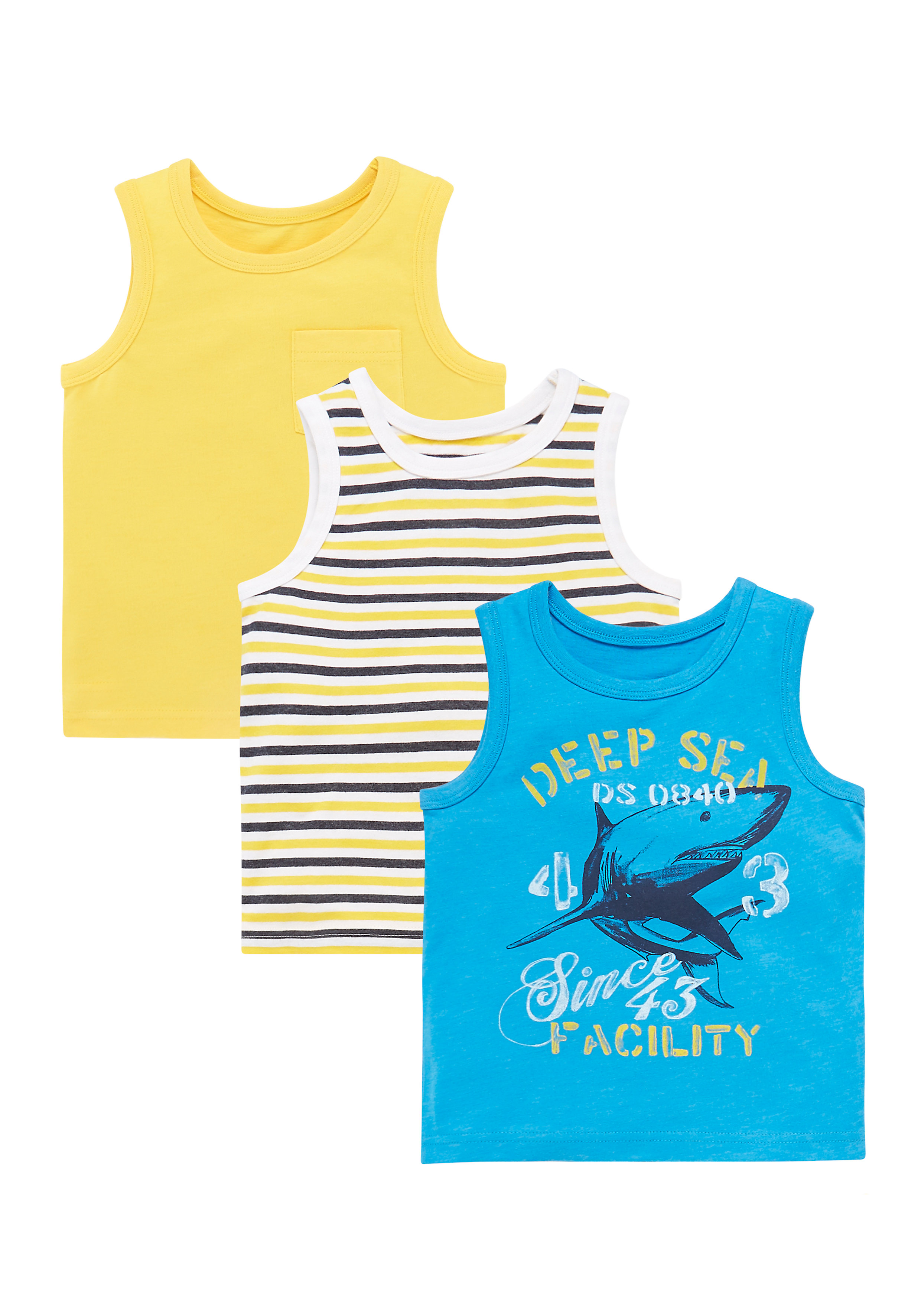 Mothercare | Boys Plain, Stripy And Deep Sea Vests - Pack Of 3