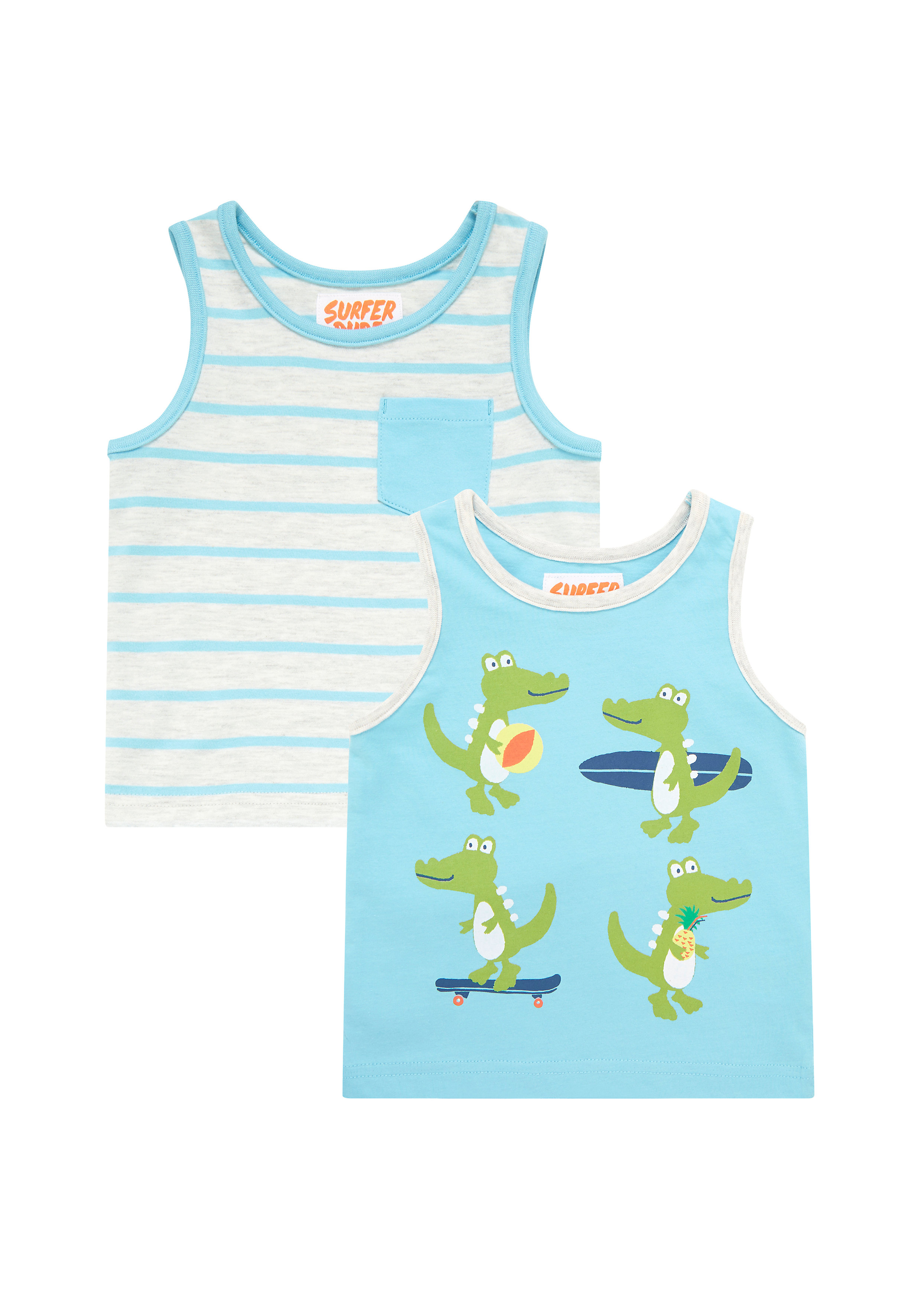 Mothercare | Boys Vests - Pack Of 2 - Blue