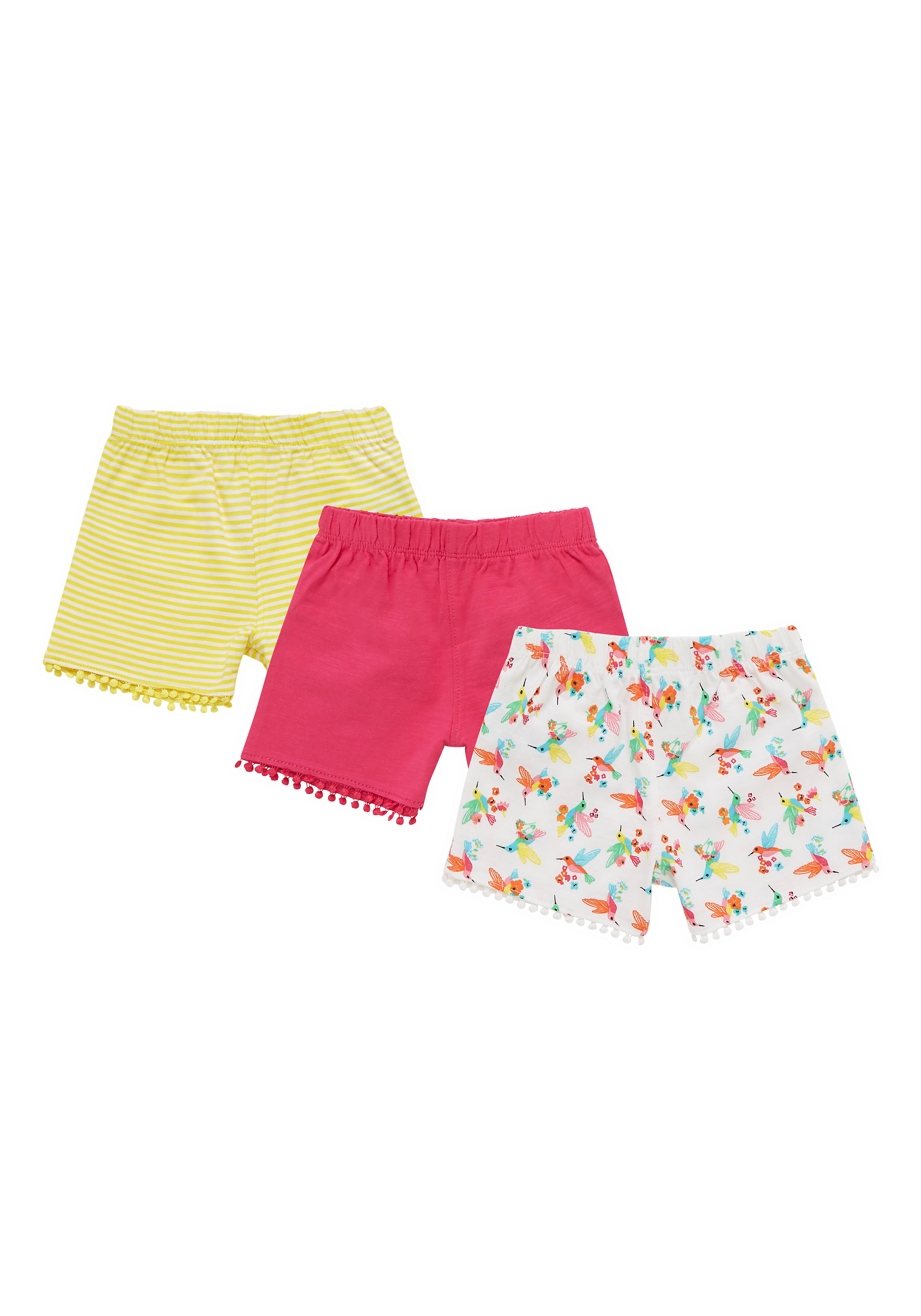 Mothercare | Girls Hummingbird, Pink And Striped Shorts - Pack Of 3