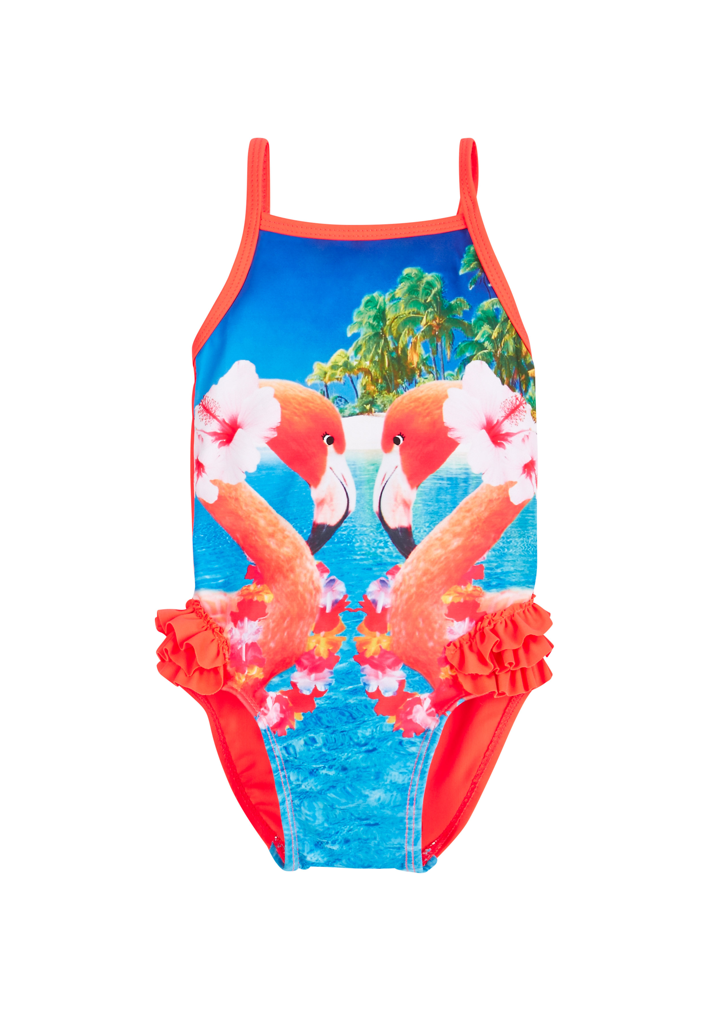 Mothercare | Red Blue Girls Tropical Flamingo Swimsuit