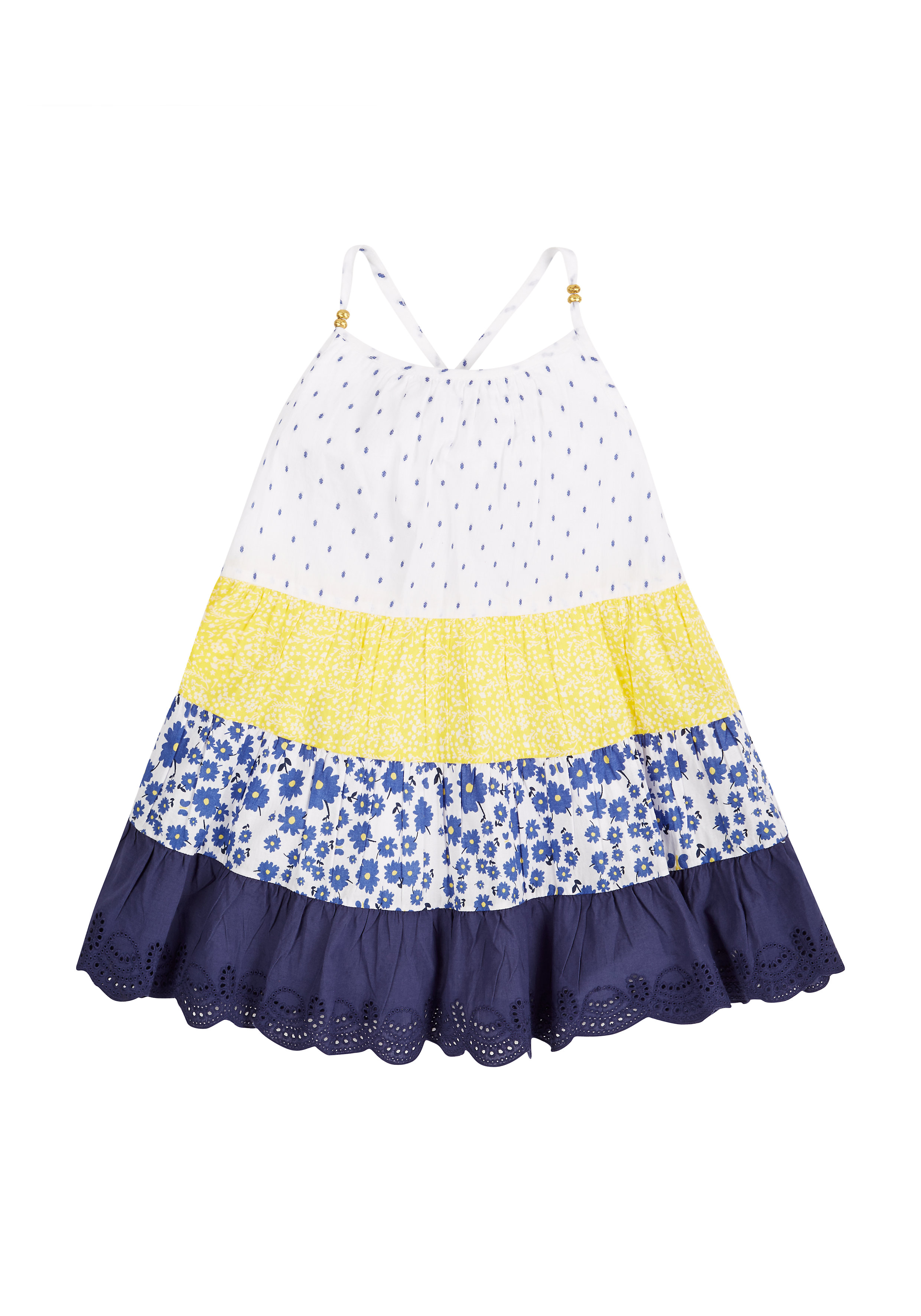 Mothercare | Girls Tiered Patchwork Dress - Blue