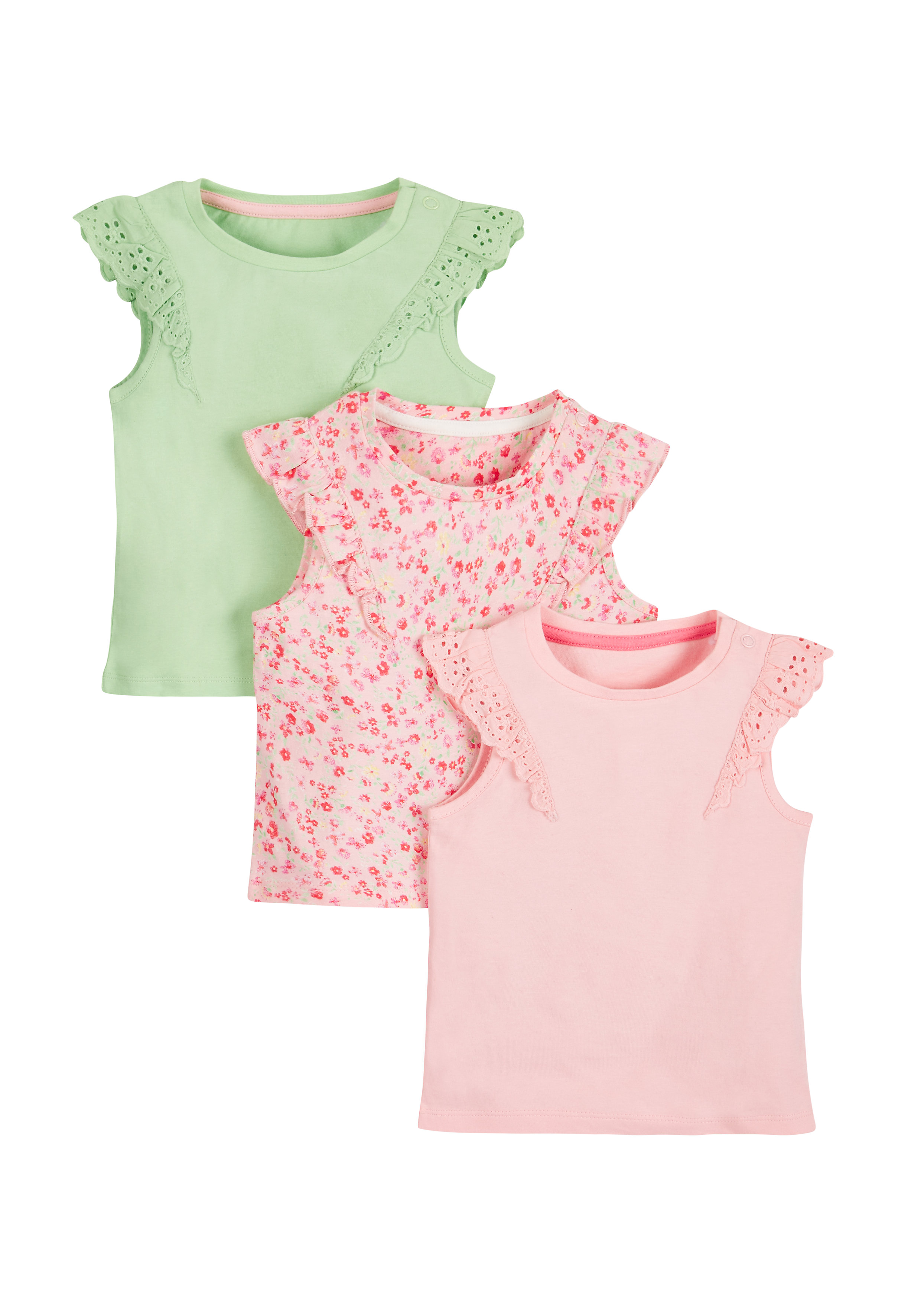 Mothercare | Girls Plain And Floral T-Shirts - Pack Of 3 - Multicolor
