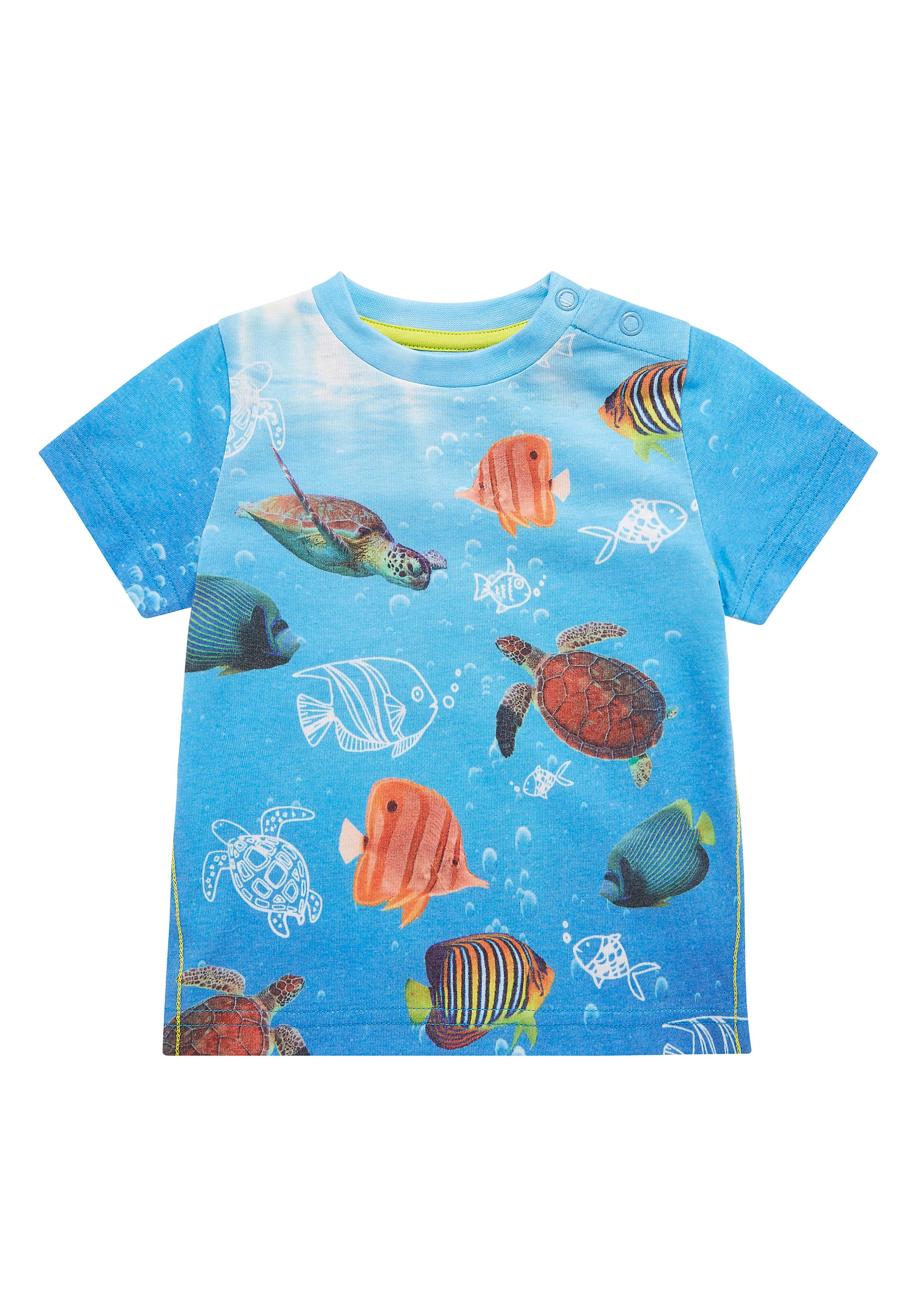 Mothercare | Boys Half Sleeves Ocean Print T-Shirt - Blue