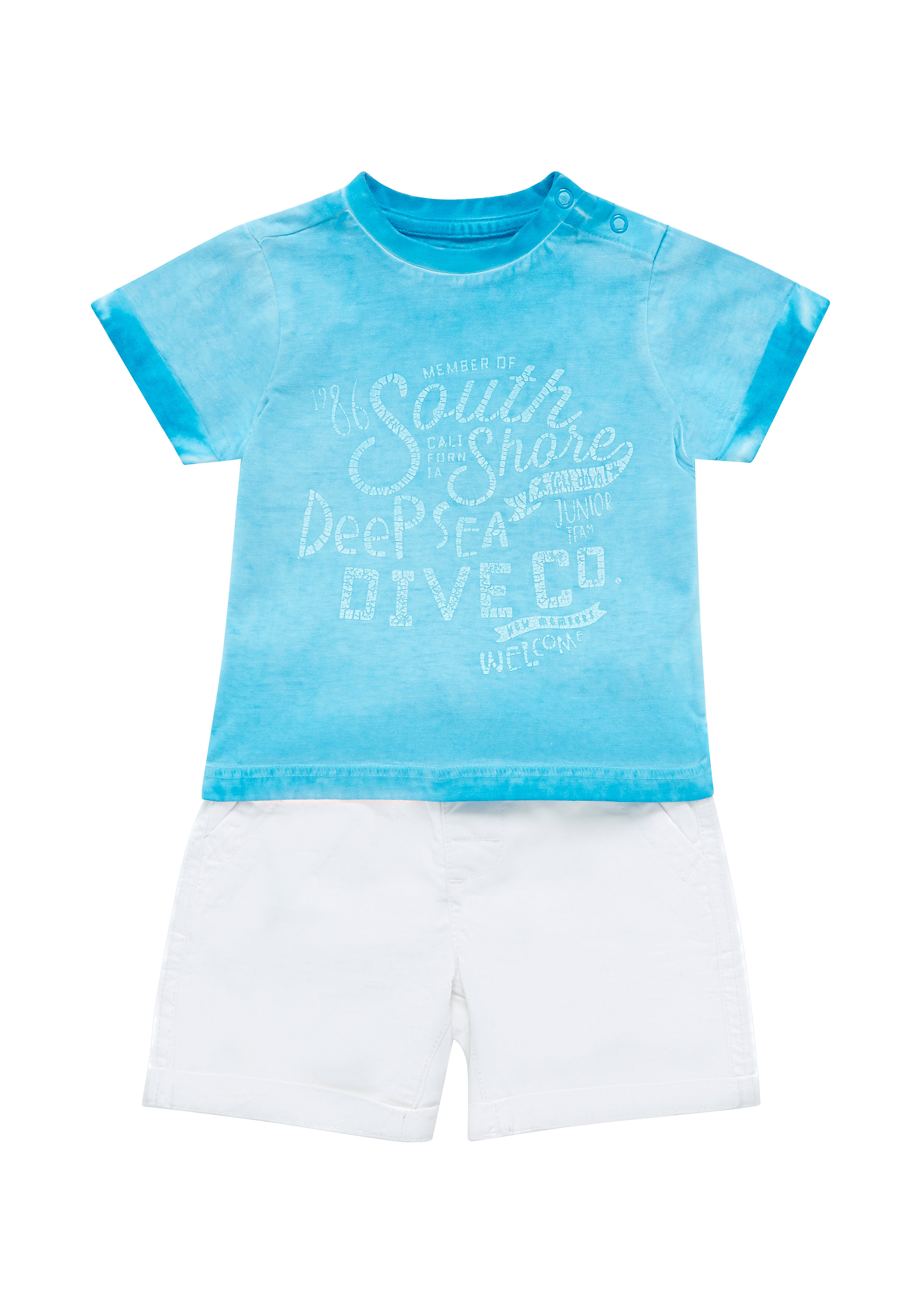Mothercare | Multicolor Boys Dyed T-Shirt And Chino Shorts Set