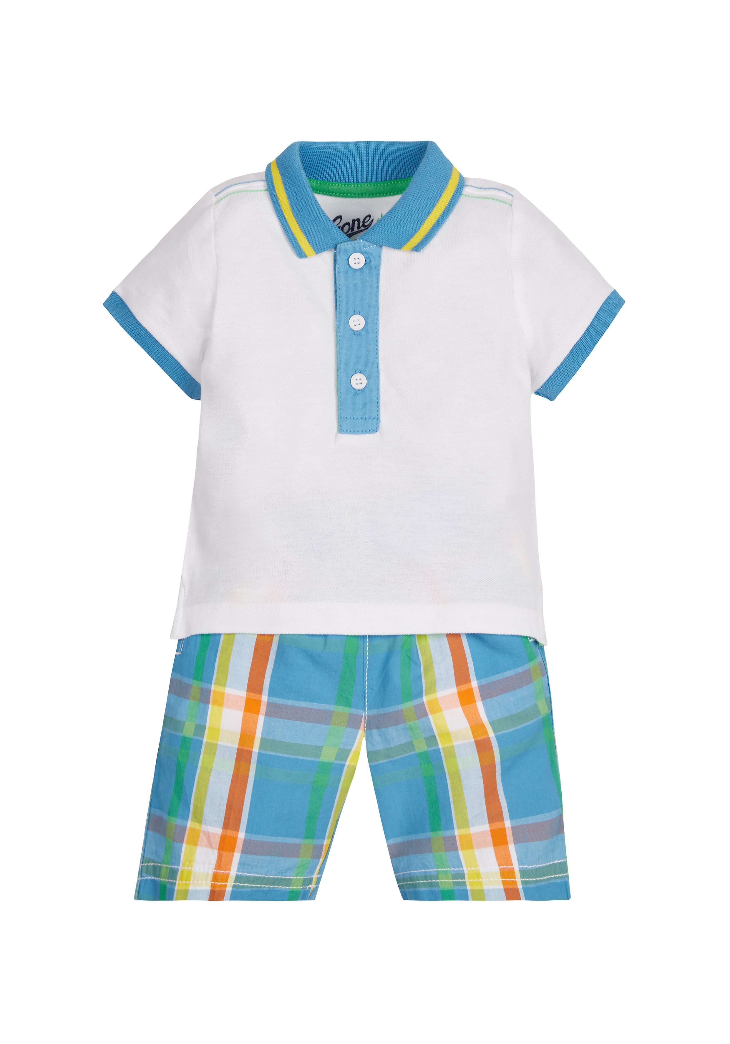 Mothercare | Boys Half Sleeves Polo T-Shirt And Shorts Set - White Blue