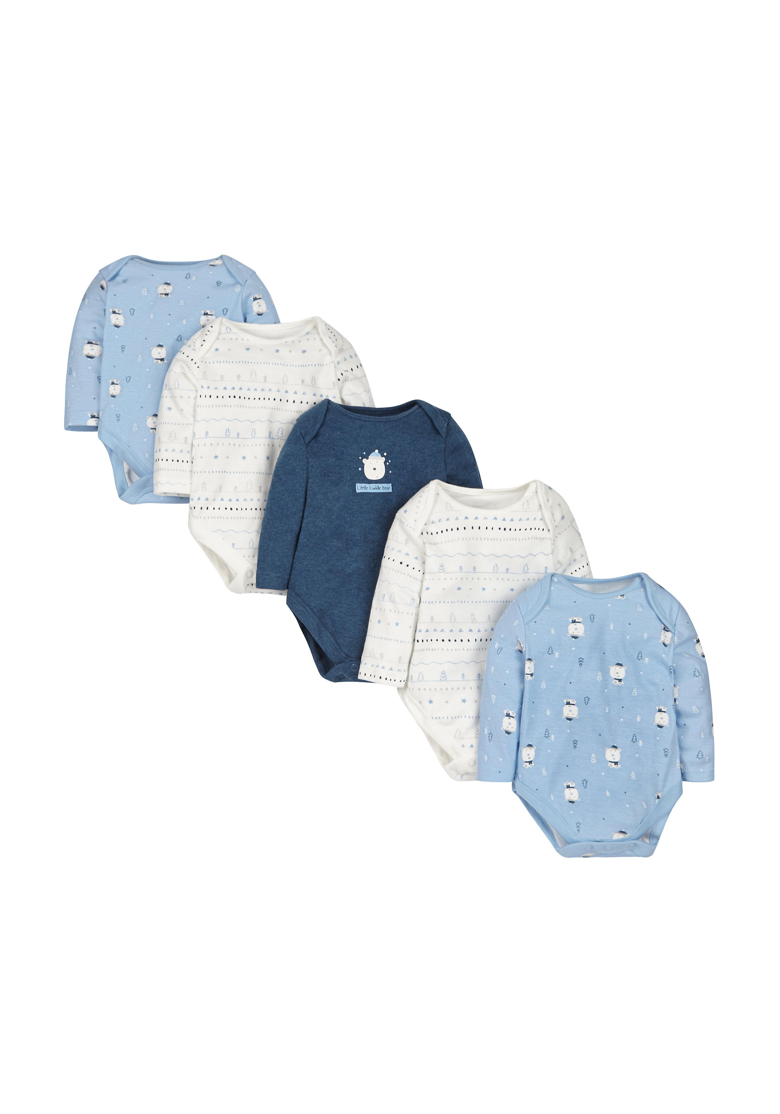 Mothercare   Boys Polar Bear Bodysuits - Pack Of 5 - Blue