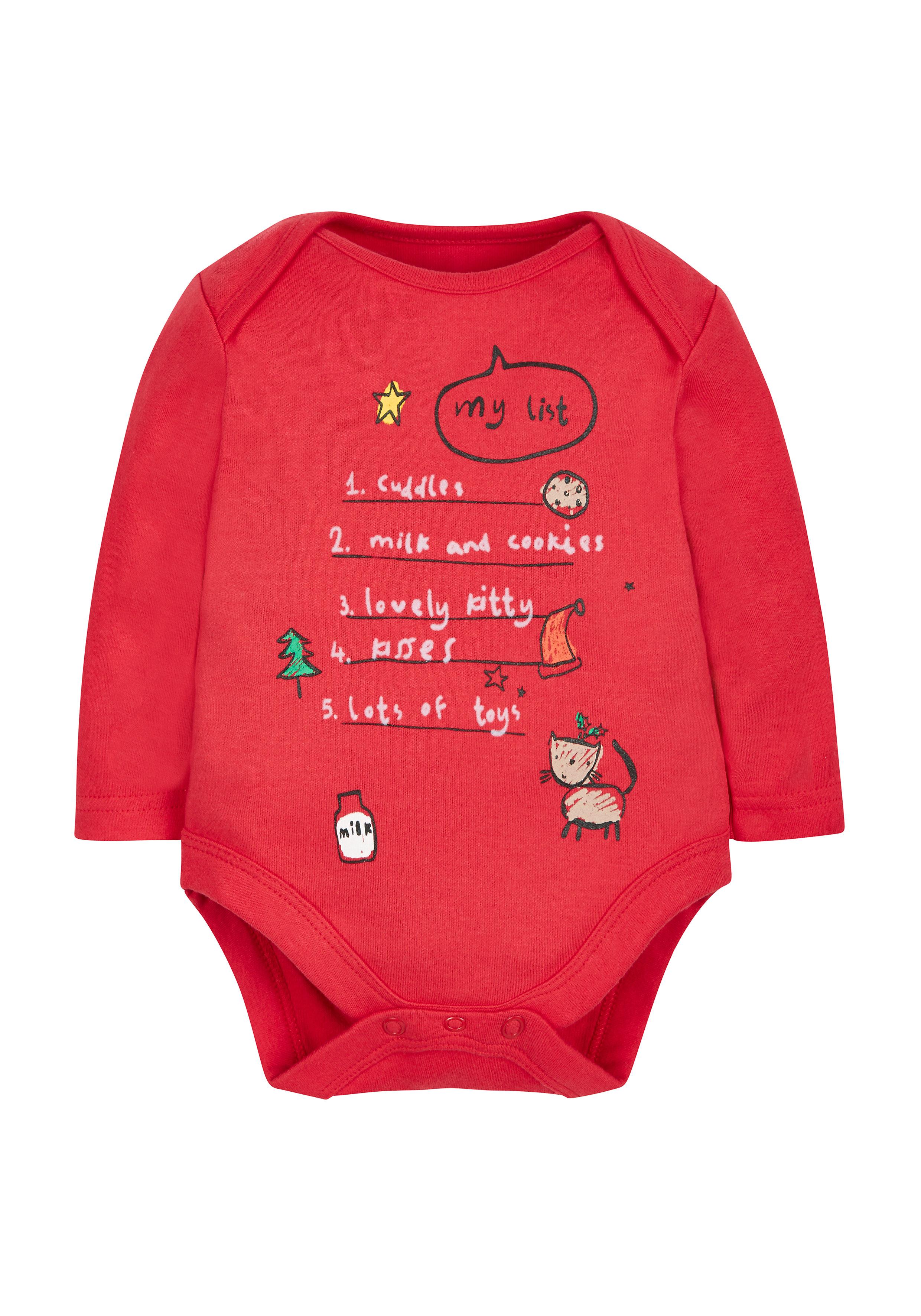 Mothercare | Unisex Festive List Bodysuit - Red
