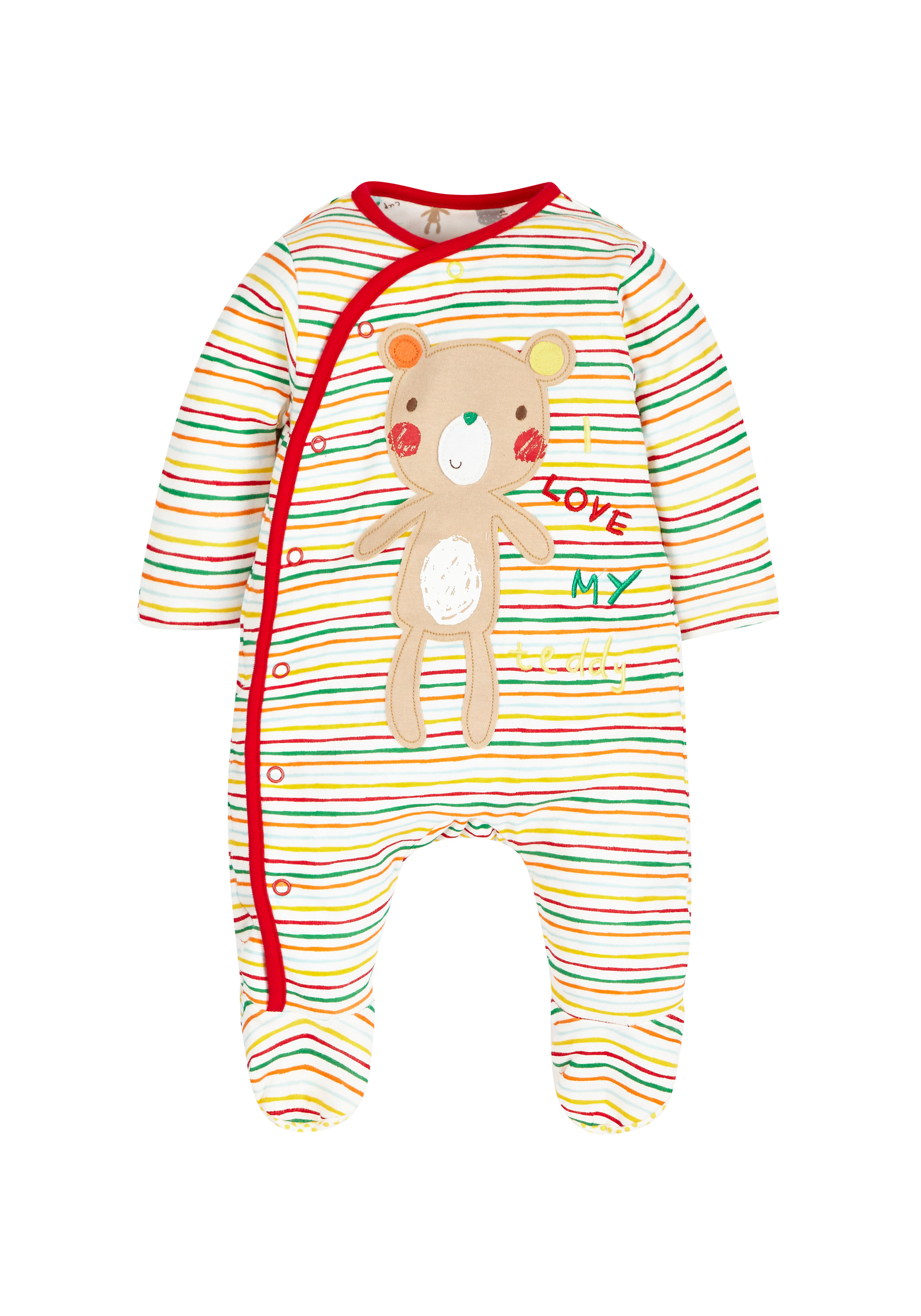 Mothercare | Unisex Full Sleeves Sleepsuits Striped Wadded - Multicolor