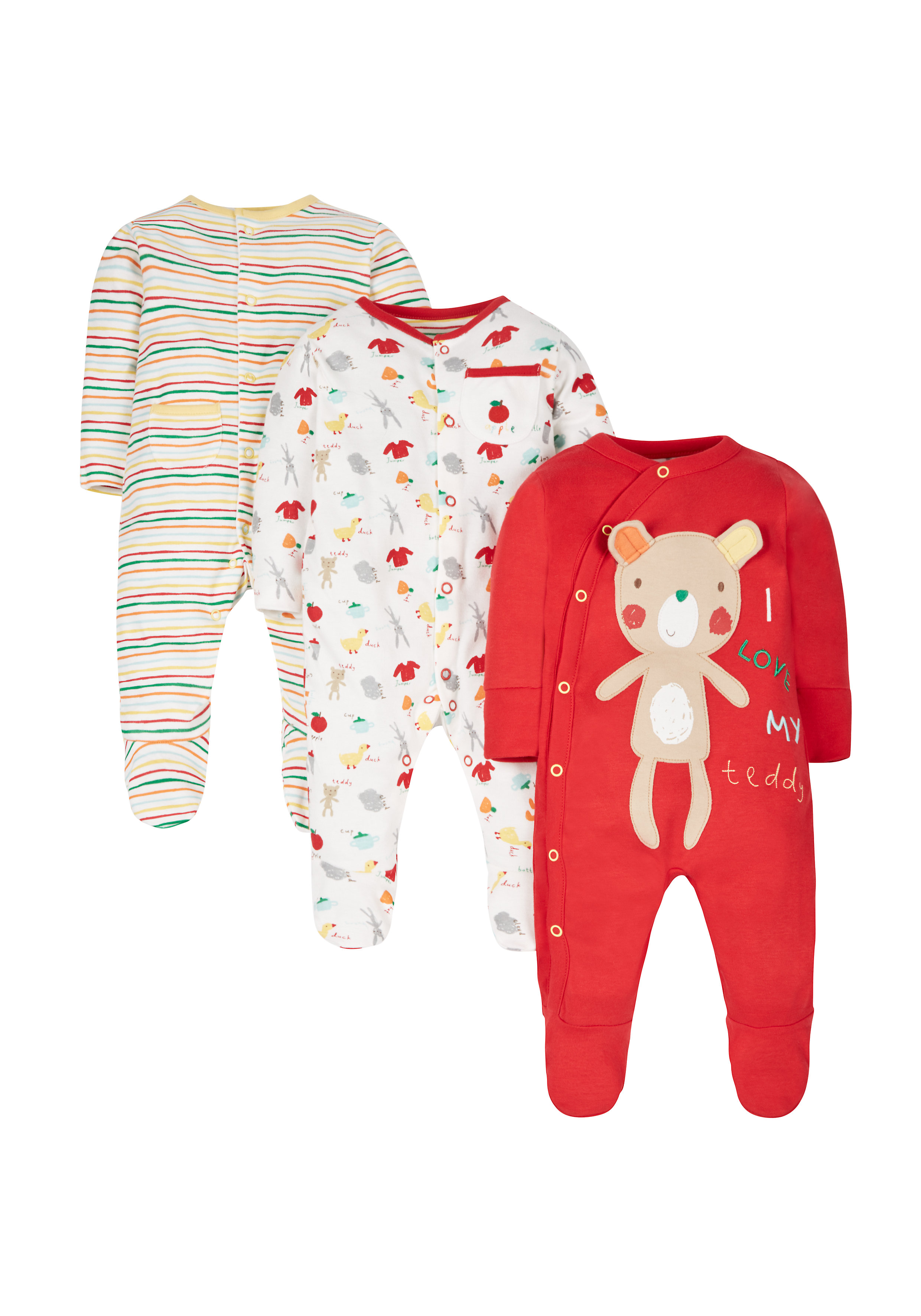 Mothercare   Unisex Full Sleeves Sleepsuits - Pack of 3 - Multicolor