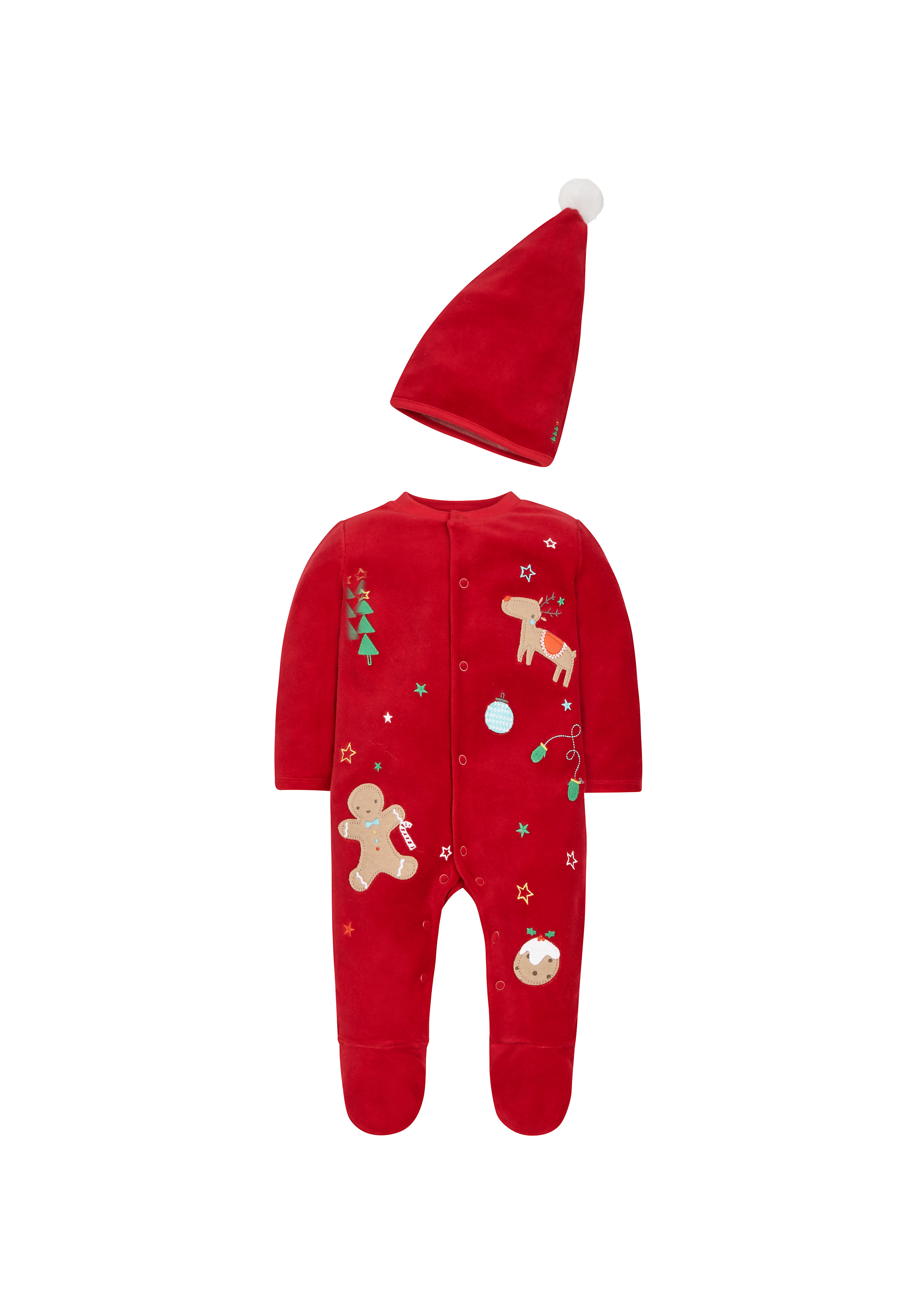 Mothercare | Unisex Full Sleeves Sleepsuit And Hat Christmas Design - Red