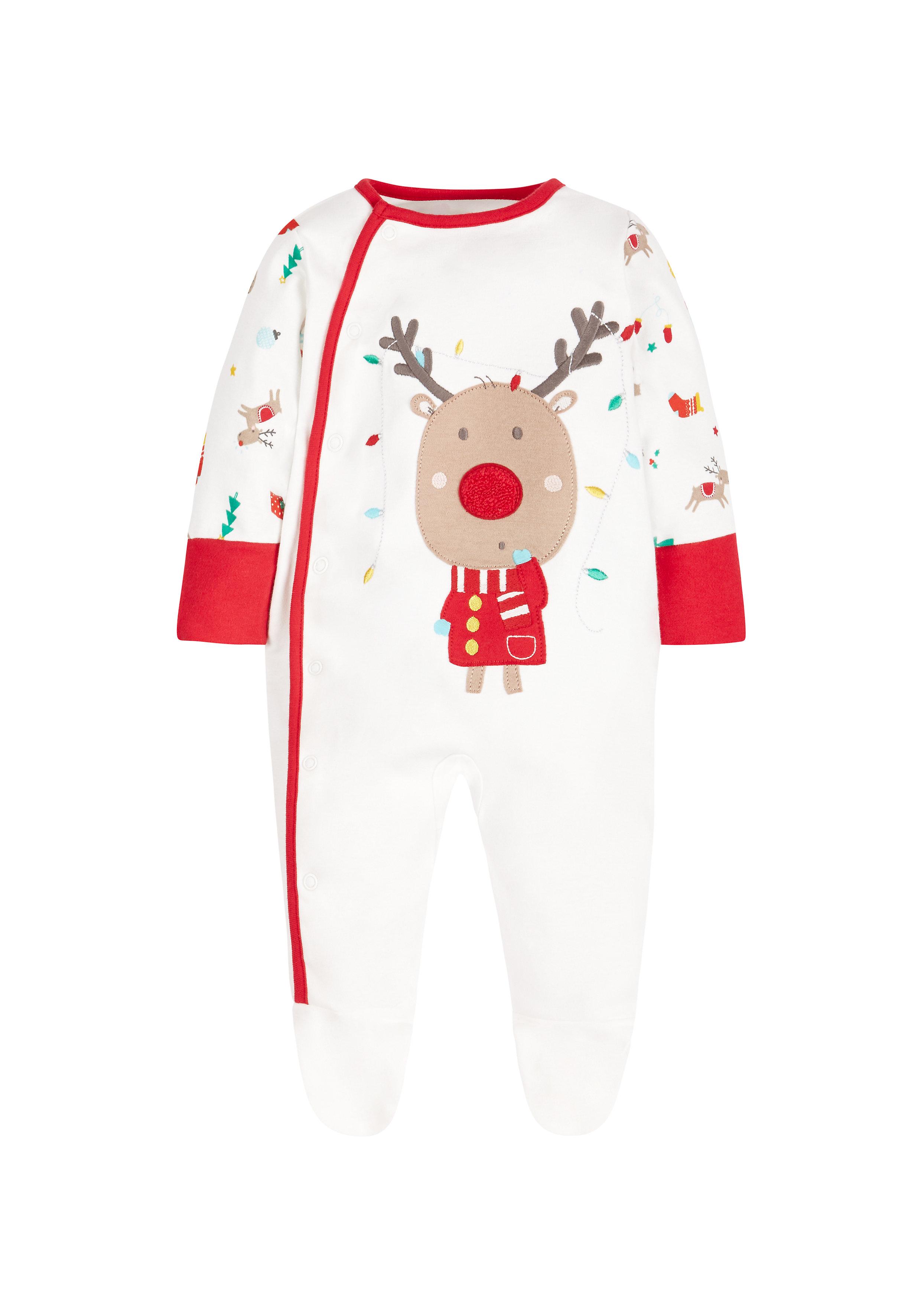 Mothercare | Unisex Full Sleeves Sleepsuits Reindeer Design - Cream