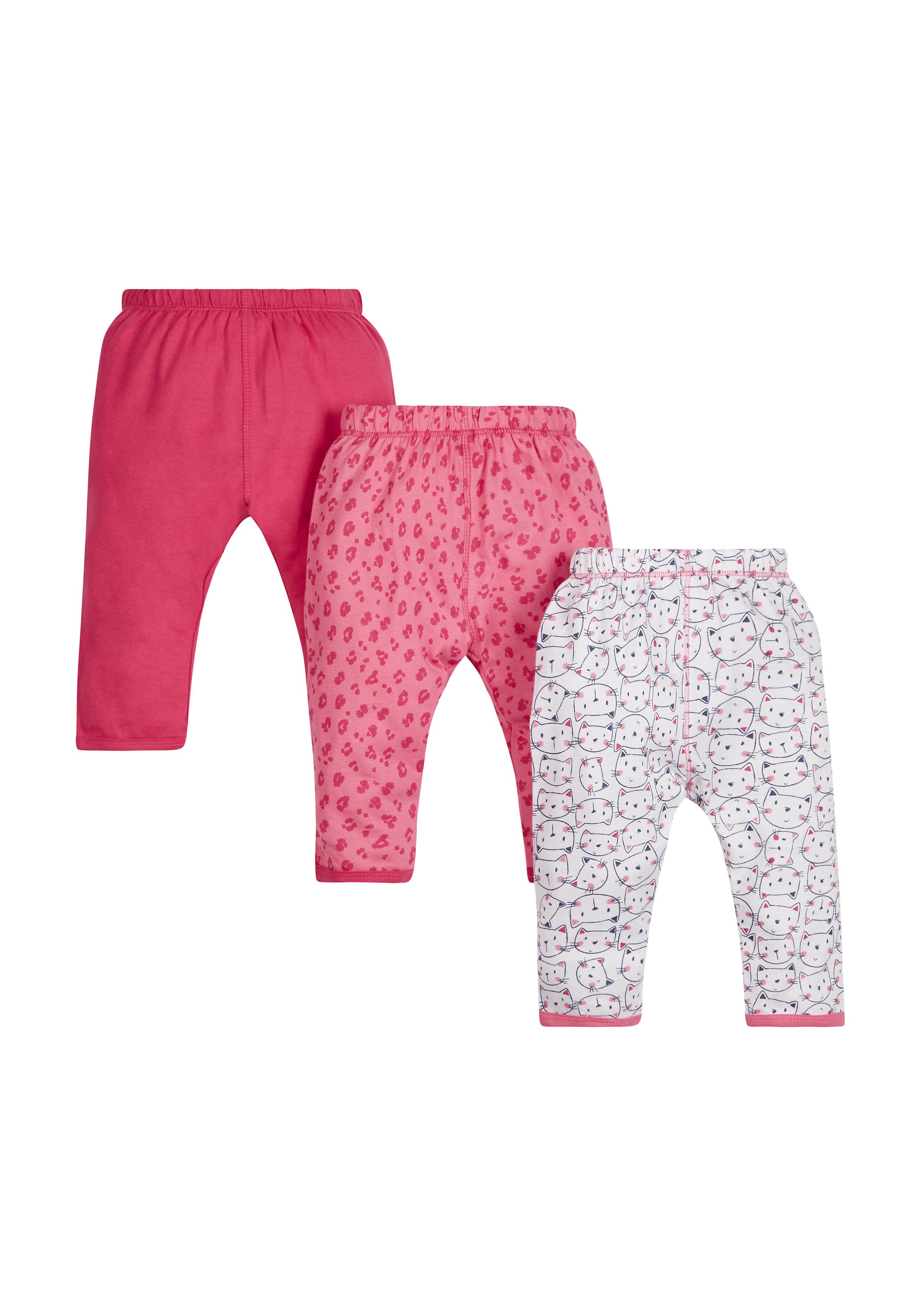 Mothercare | Girls Cat Leggings - Pack Of 3 - Multicolor