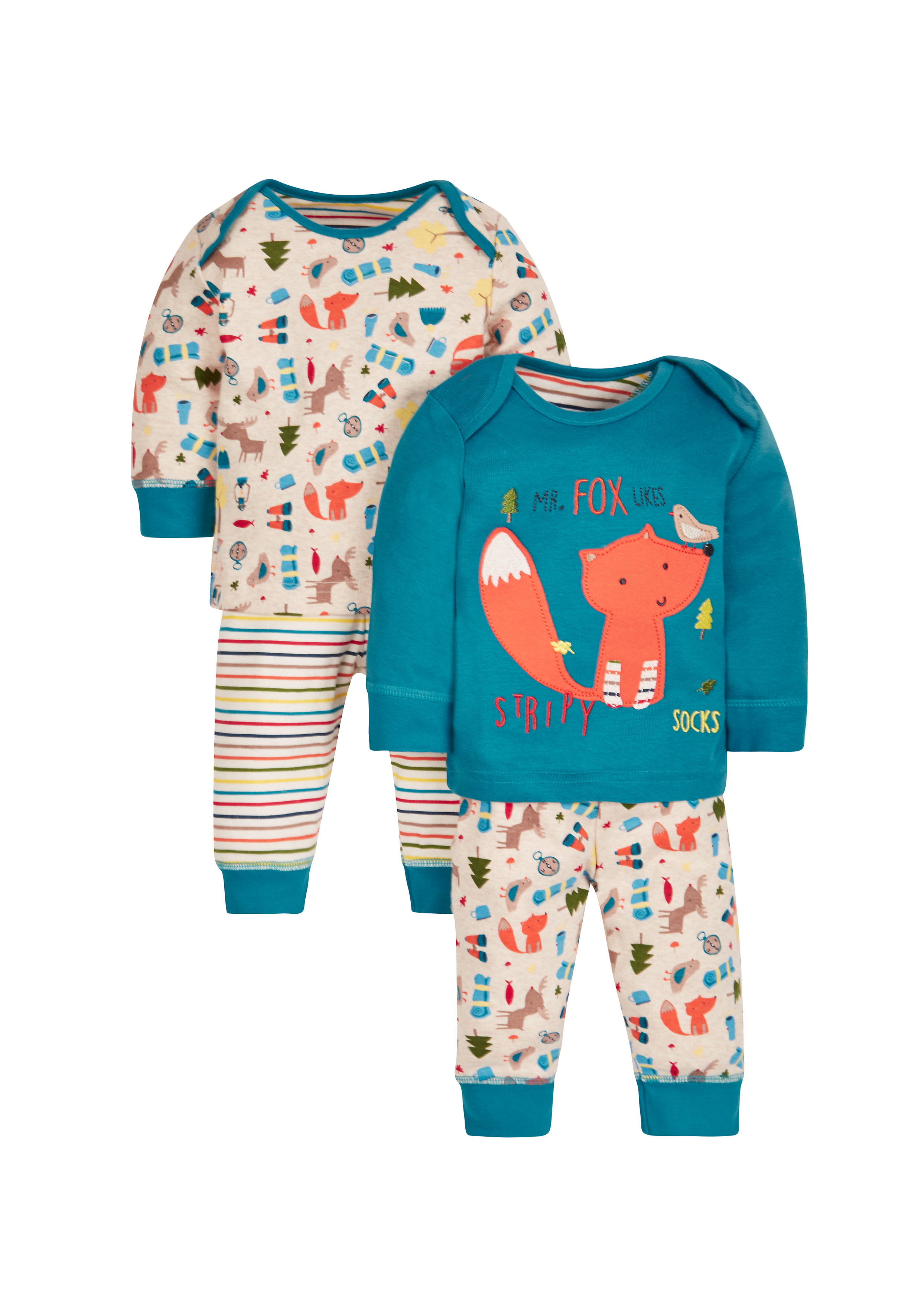 Mothercare | Boys Full Sleeves Pyjama Sets - Pack of 2 - Multicolor