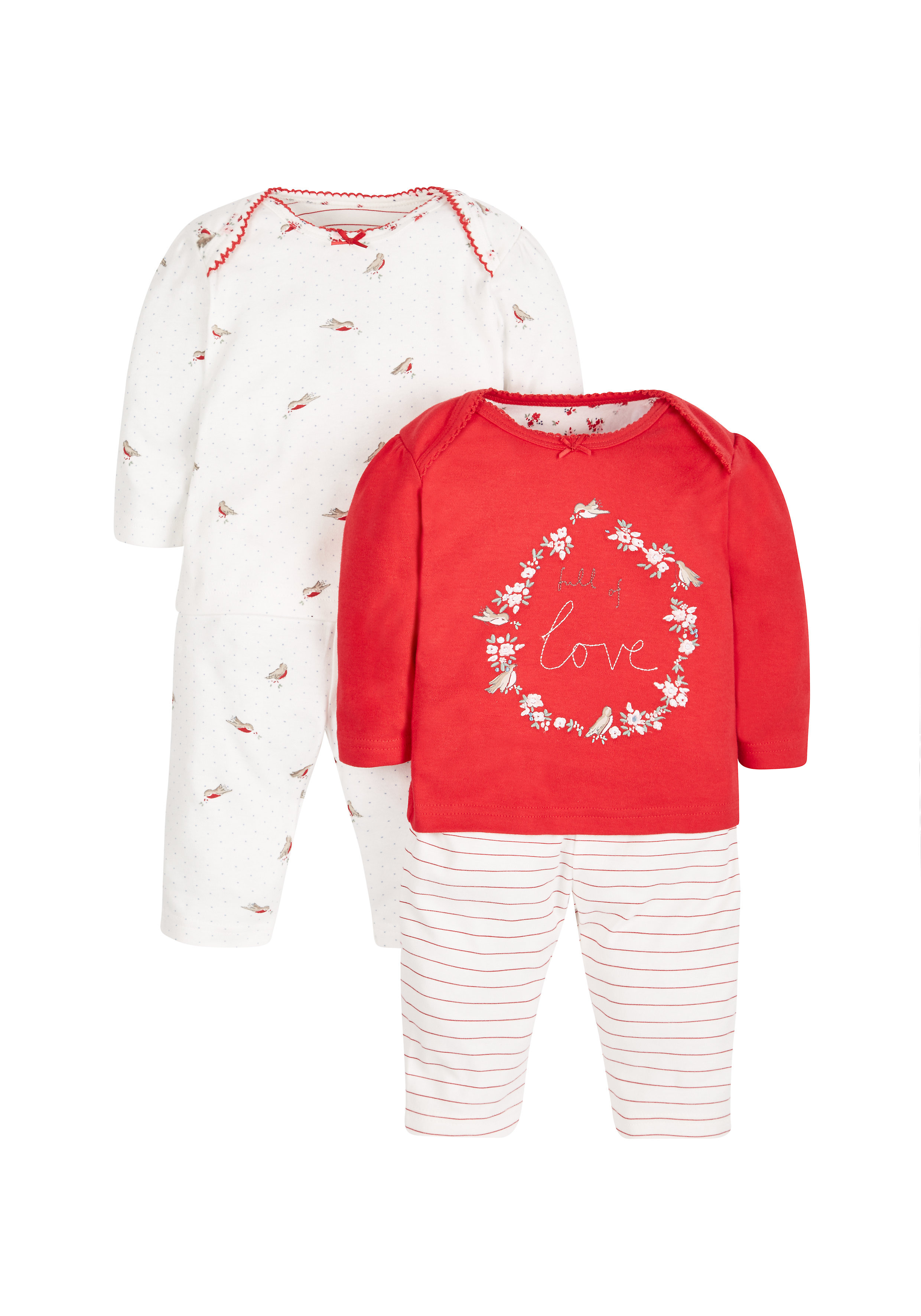 Mothercare | Girls Full Sleeves Pyjama Set Embroidered - Pack Of 2 - Red
