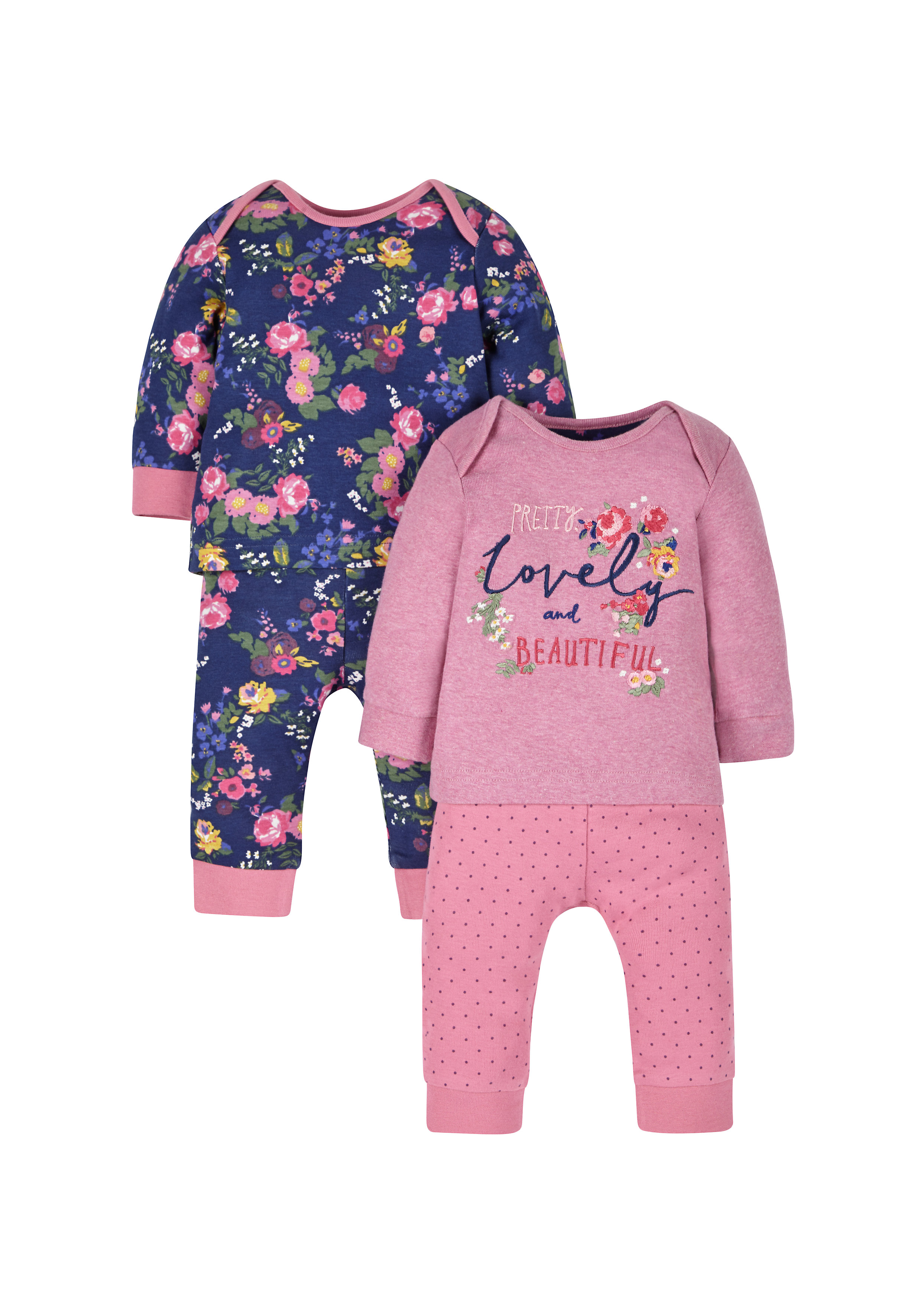 Mothercare | Girls Full Sleeves Pyjama Set Floral Embroidery - Pack Of 2 - Pink